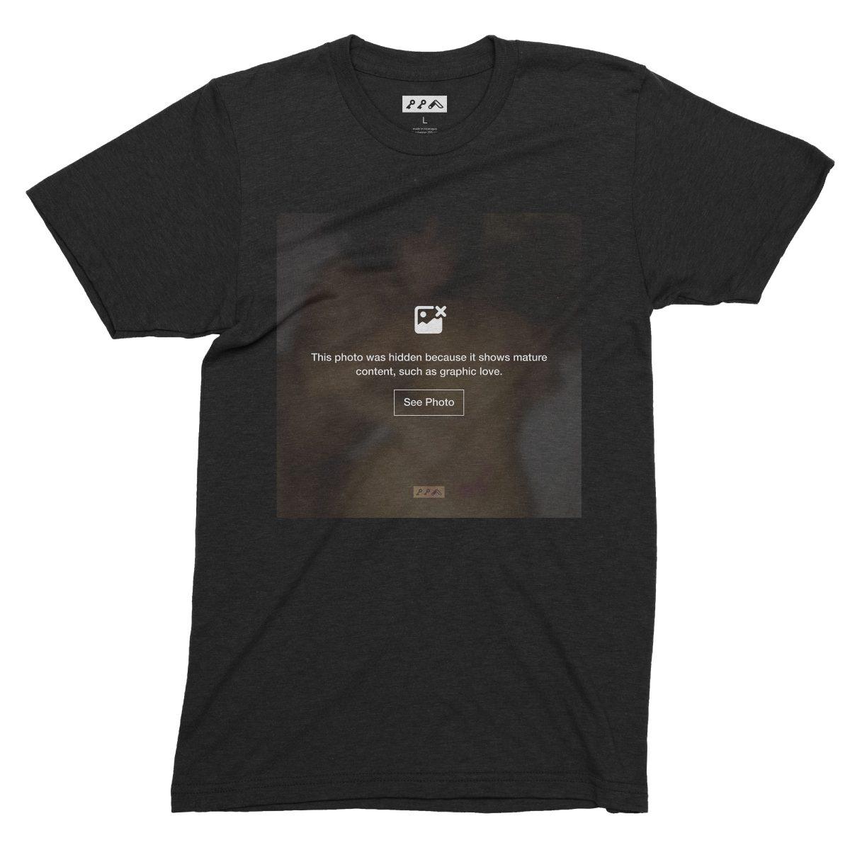 """GRAPHIC LOVE"" hidden sex image t-shirts in black by kikicutt"