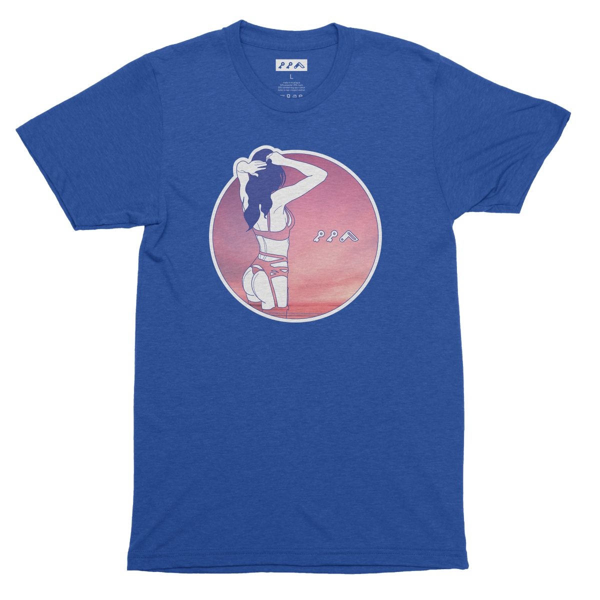 """""""NIGHT MOVES"""" sexy music festival graphic tee in dodger blue"""