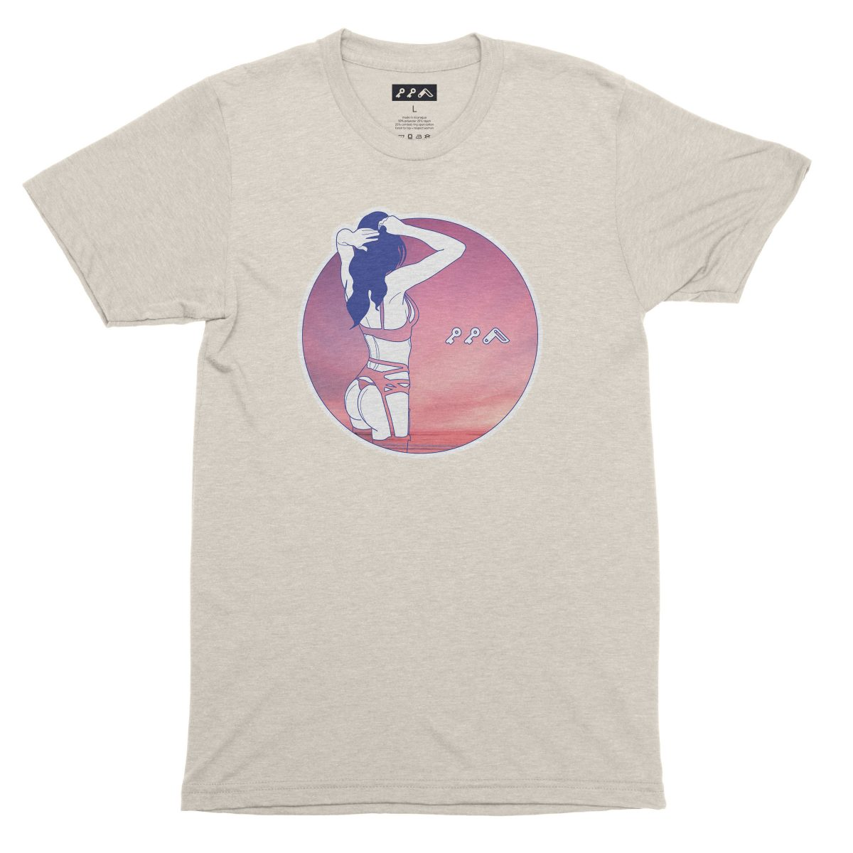 """""""NIGHT MOVES"""" sexy music festival graphic tee in oatmeal"""