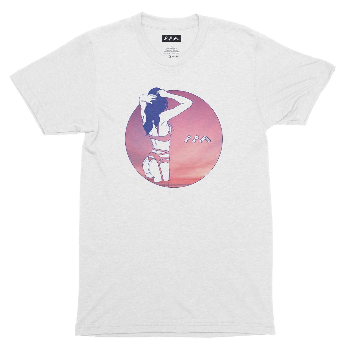 """""""NIGHT MOVES"""" sexy music festival graphic tee in white"""