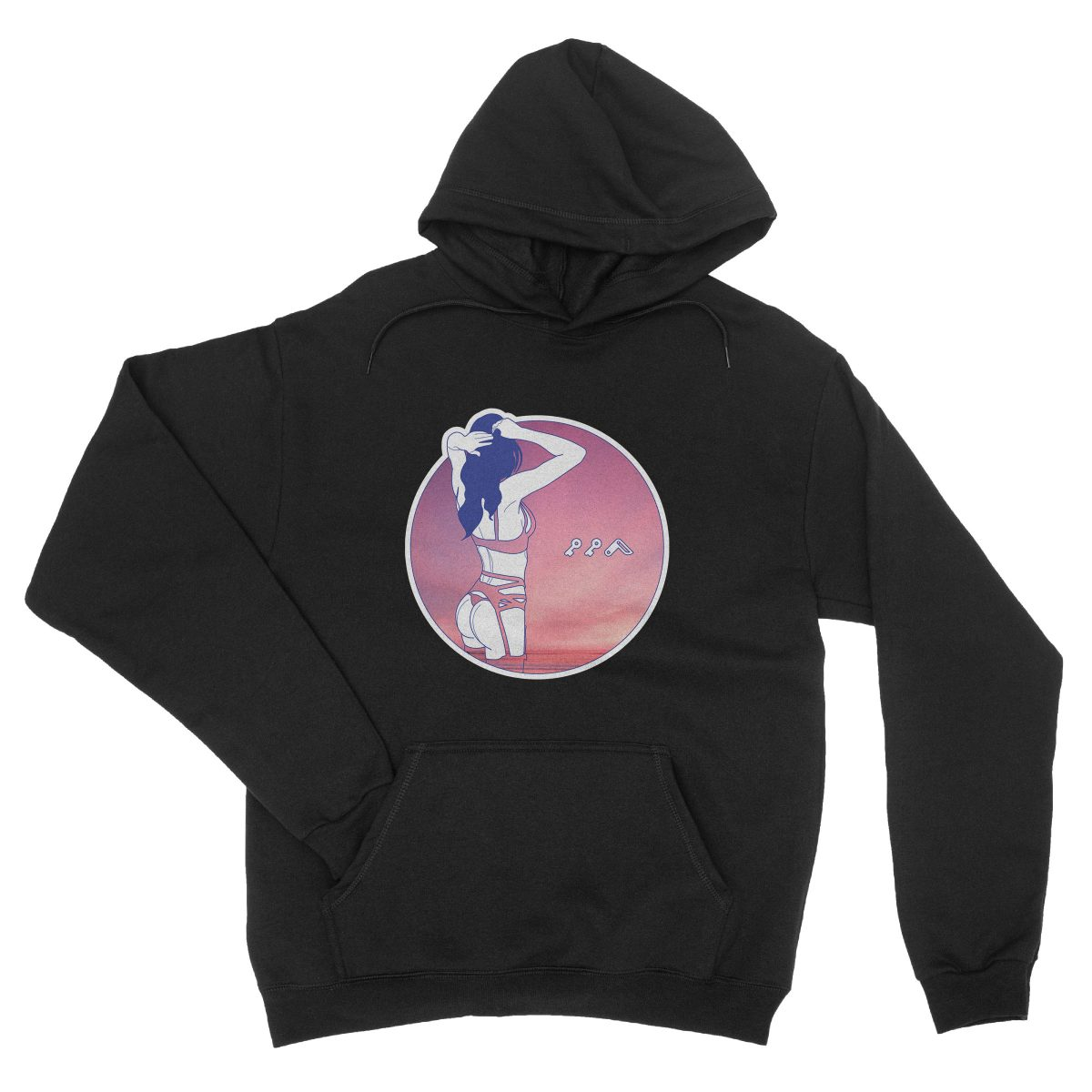 """NIGHT MOVES"" music festival soft beach hoodie in black"