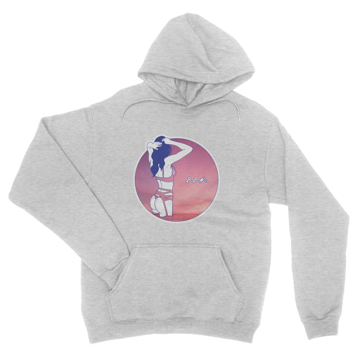 """NIGHT MOVES"" music festival soft beach hoodie in grey"