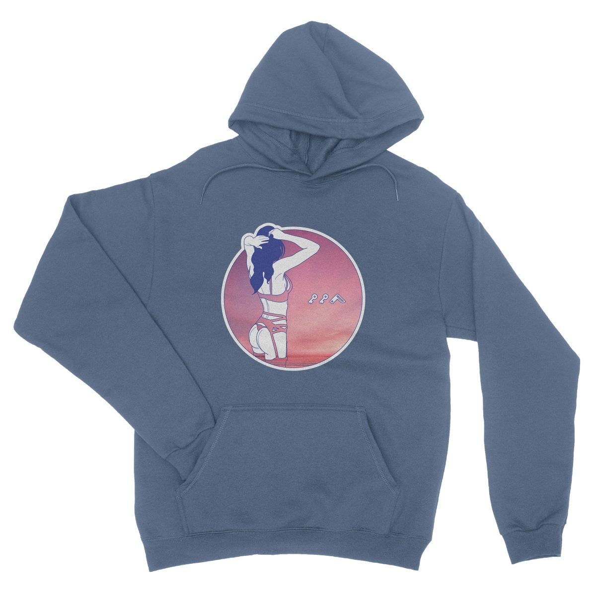 """NIGHT MOVES"" music festival soft beach hoodie in indigo"