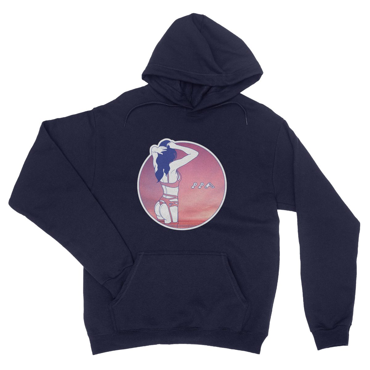 """NIGHT MOVES"" music festival soft beach hoodie in navy"