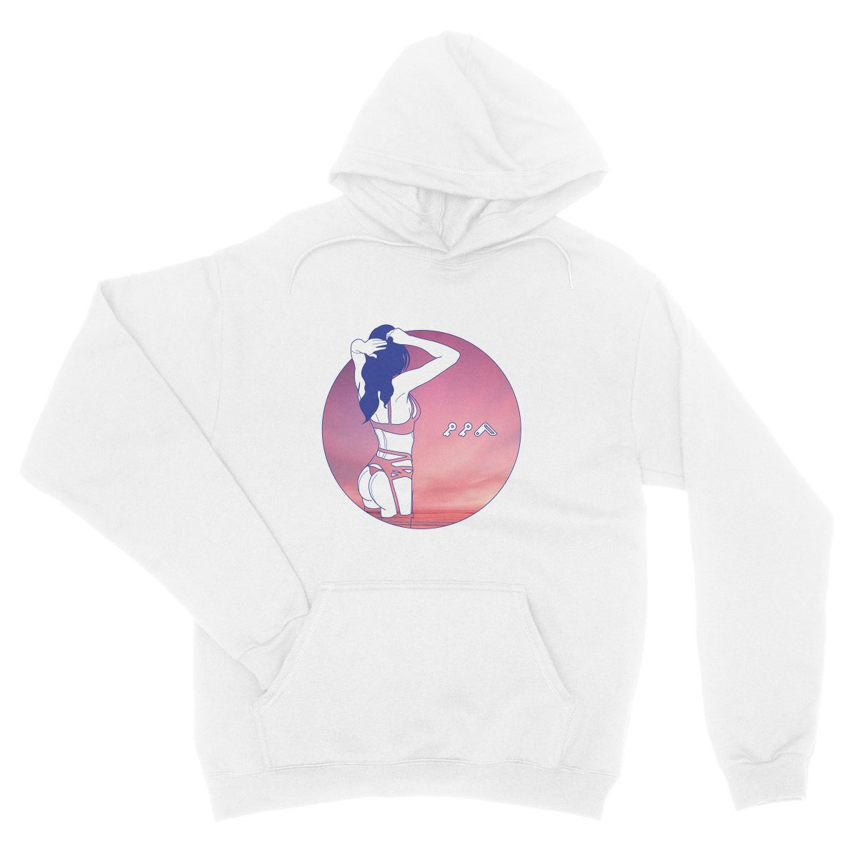 """NIGHT MOVES"" music festival soft beach hoodie in white"