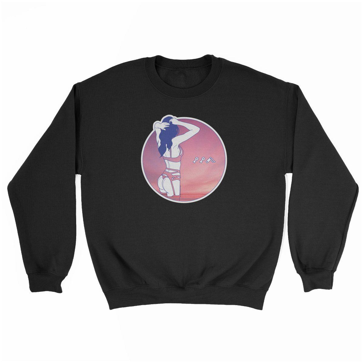 """NIGHT MOVES"" music festival beach sweatshirt in black"