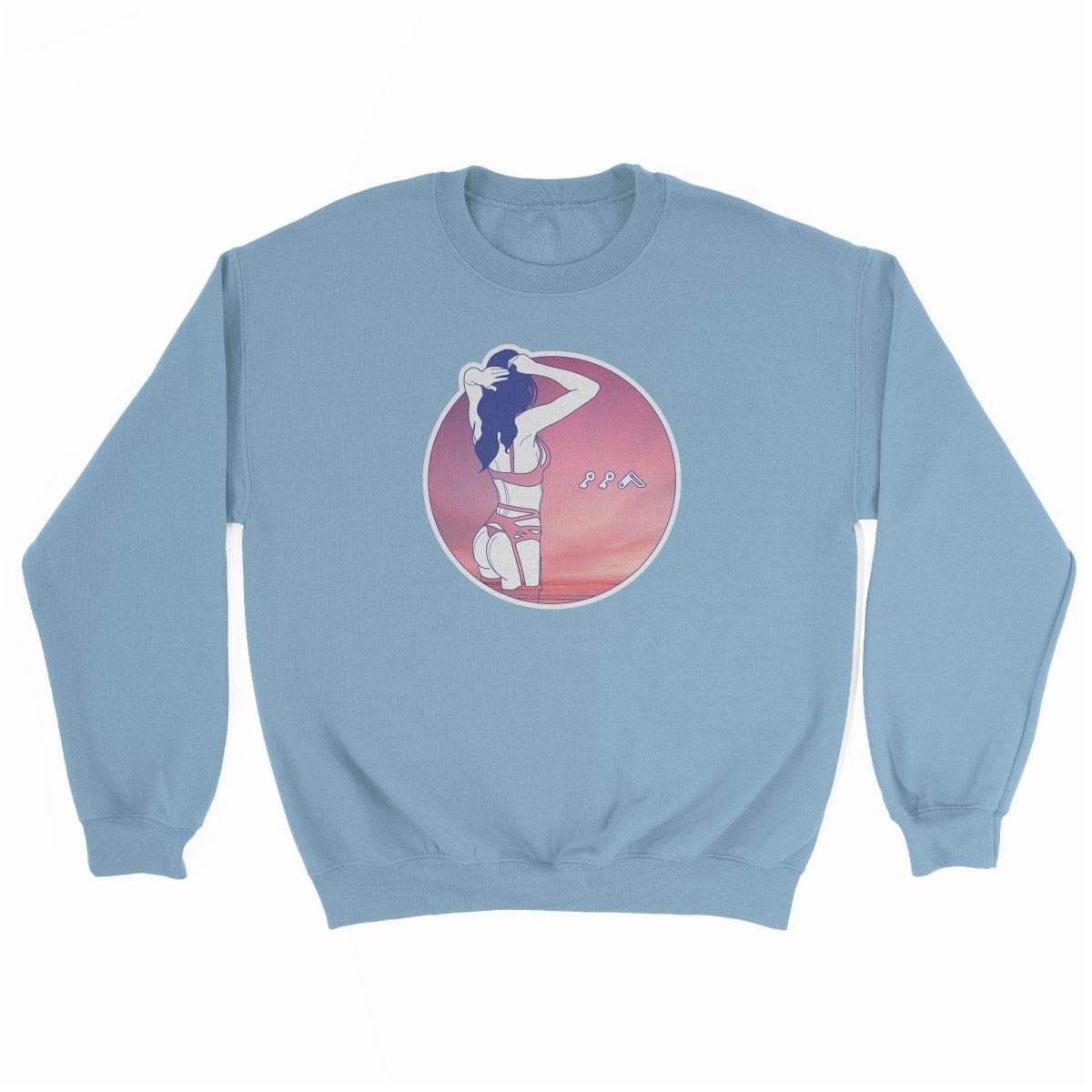 """NIGHT MOVES"" music festival beach sweatshirt in light blue"