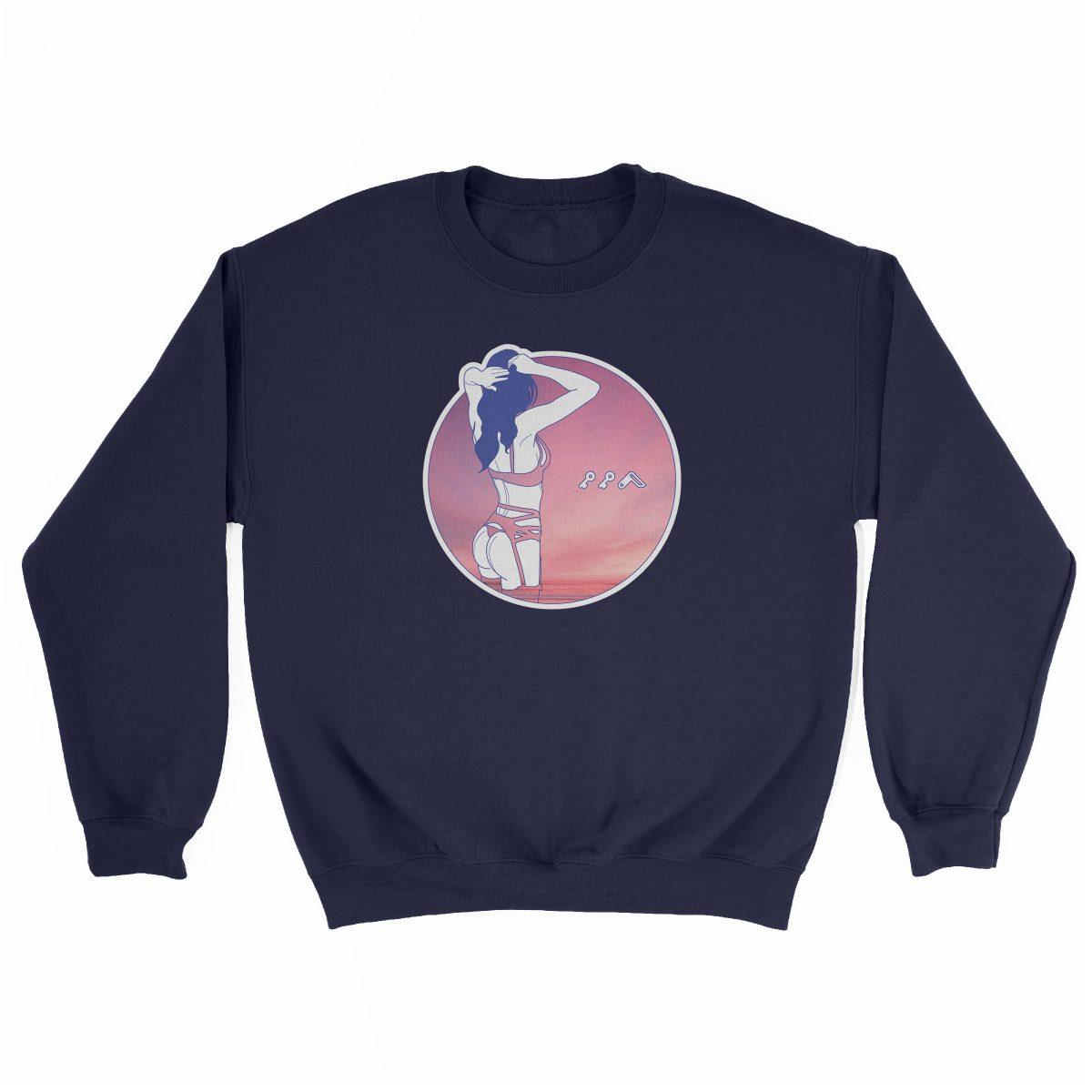 """NIGHT MOVES"" music festival beach sweatshirt in navy"