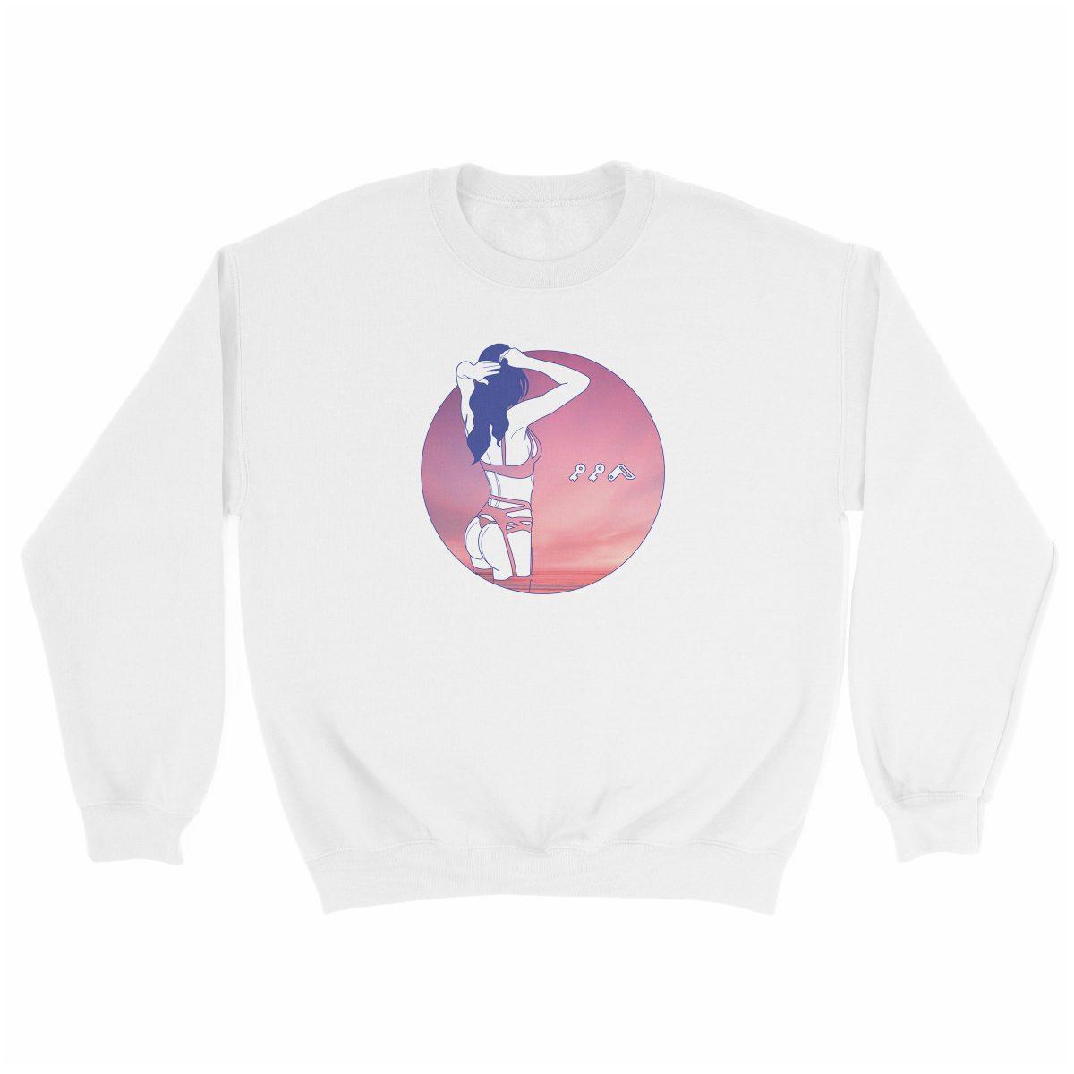 """NIGHT MOVES"" music festival beach sweatshirt in white"