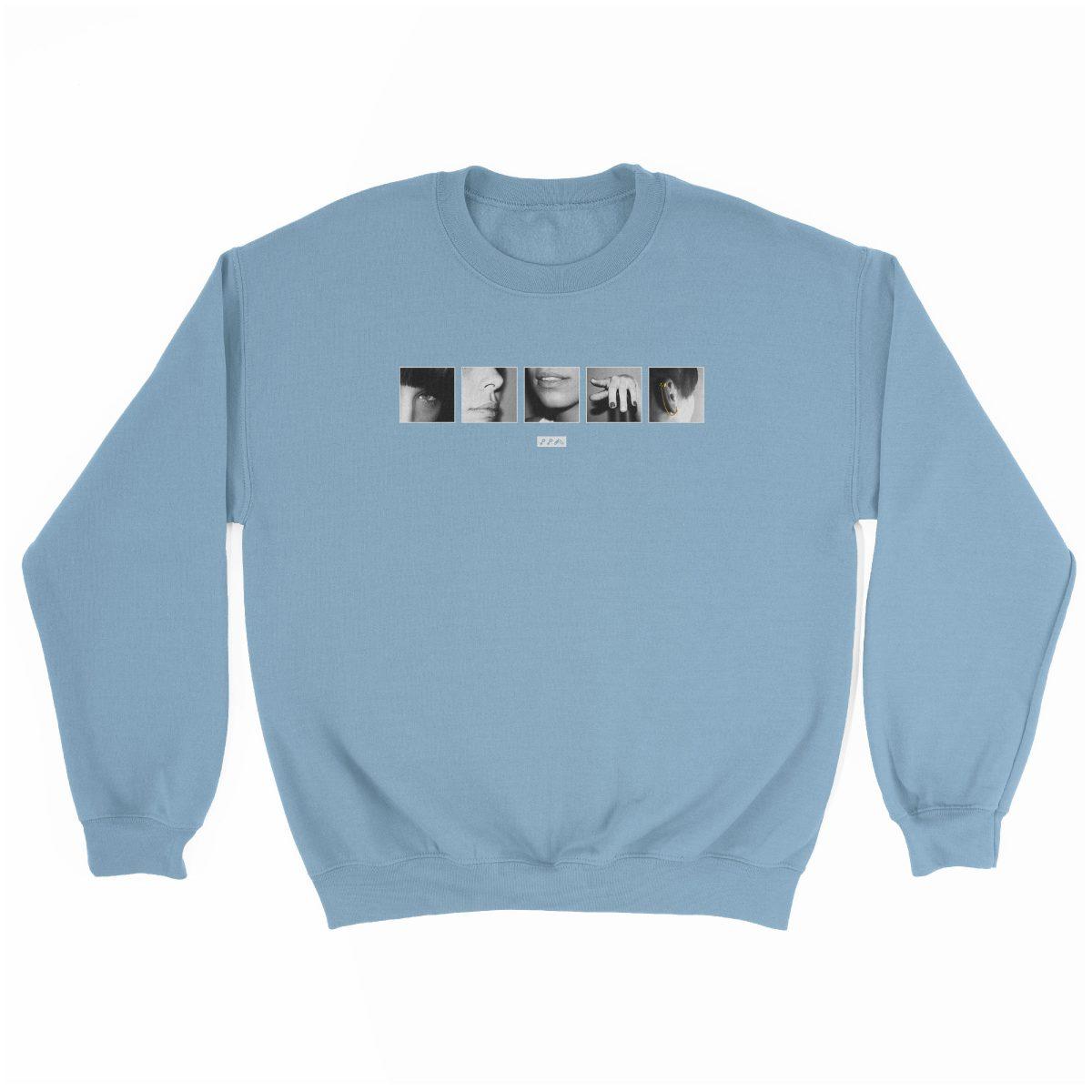 "six sexual ""SENSES"" soft graphic sweatshirt in light blue at kikicutt.com"