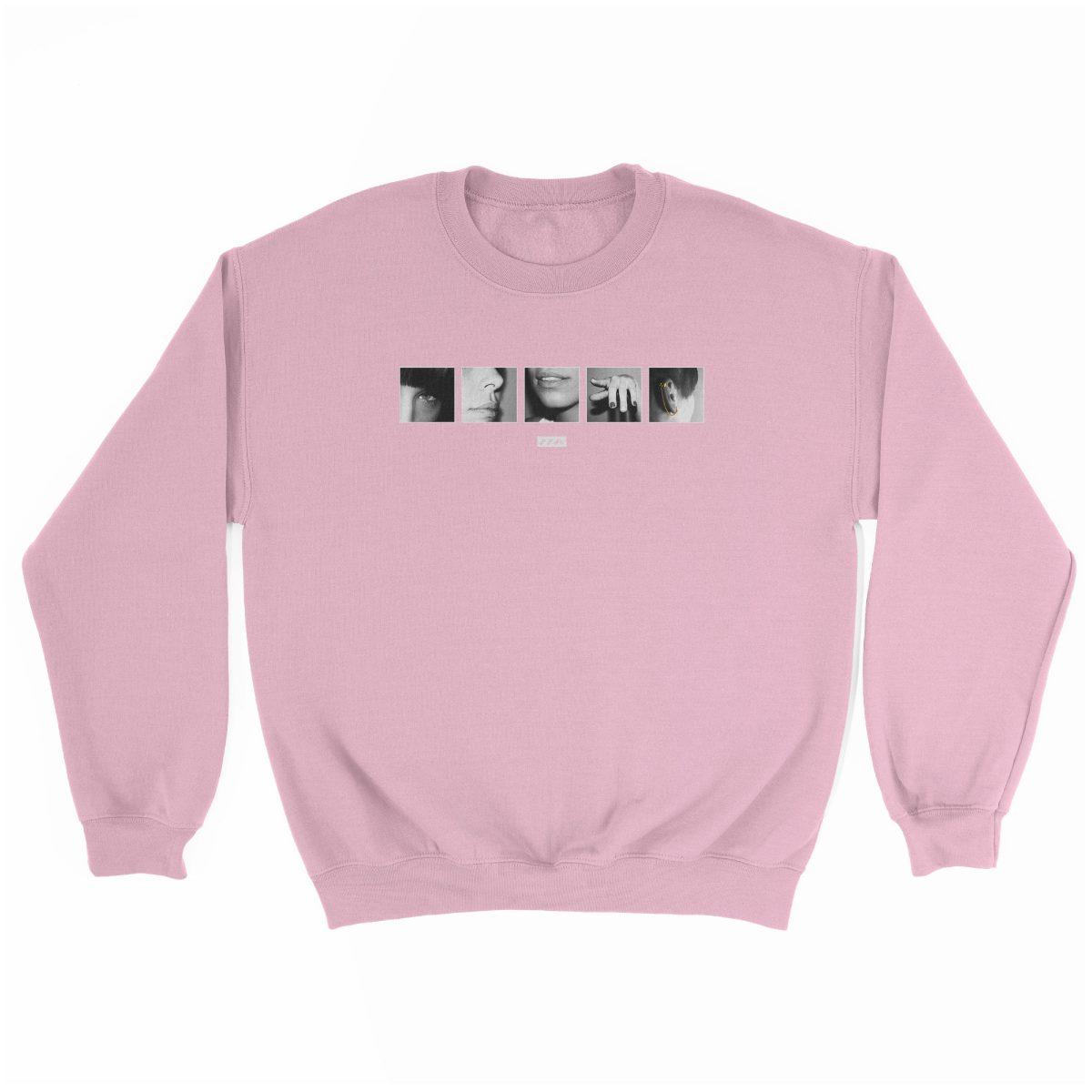 "six sexual ""SENSES"" soft graphic sweatshirt in light pink at kikicutt.com"