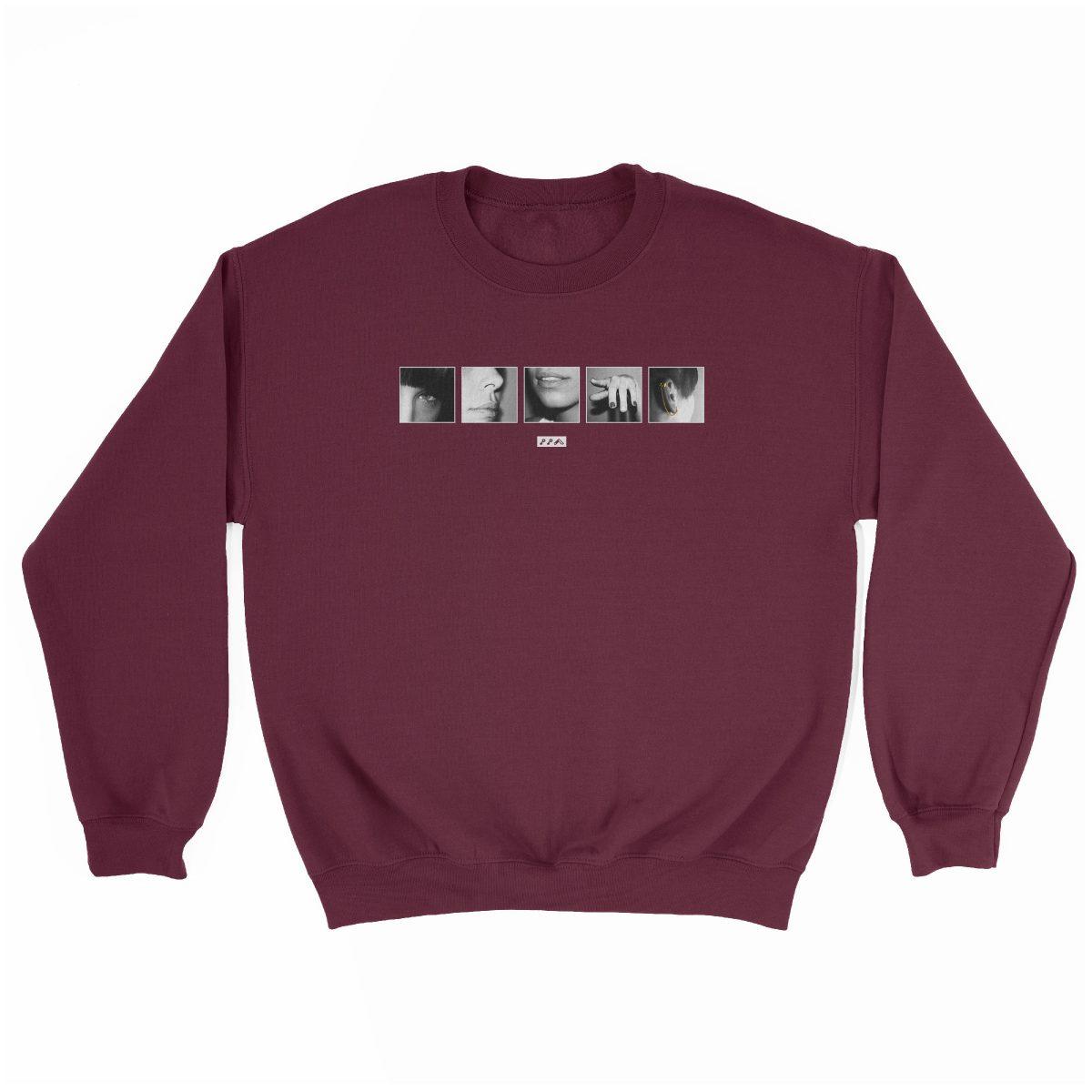 """six sexual """"SENSES"""" soft graphic sweatshirt in maroon at kikicutt.com"""