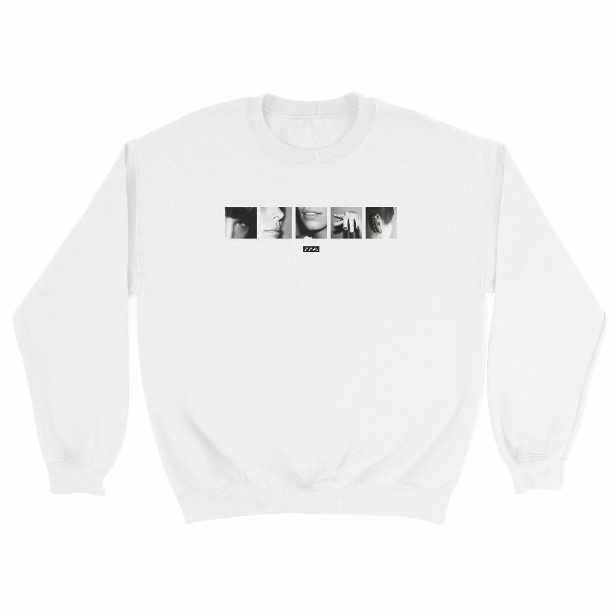"six sexual ""SENSES"" soft graphic sweatshirt in white at kikicutt.com"