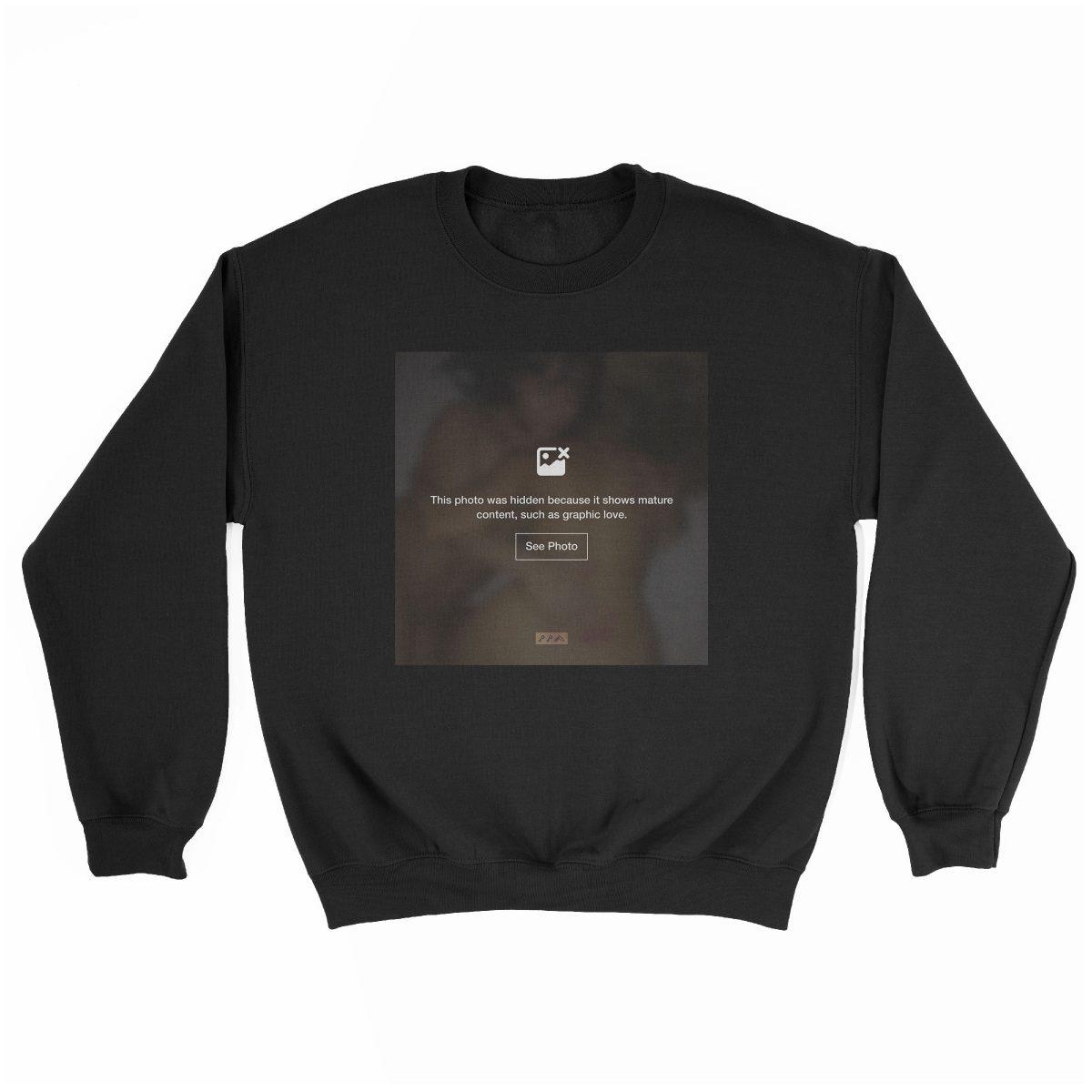 """""""GRAPHIC LOVE"""" hidden sex graphic sweatshirt in black by kikicutt"""