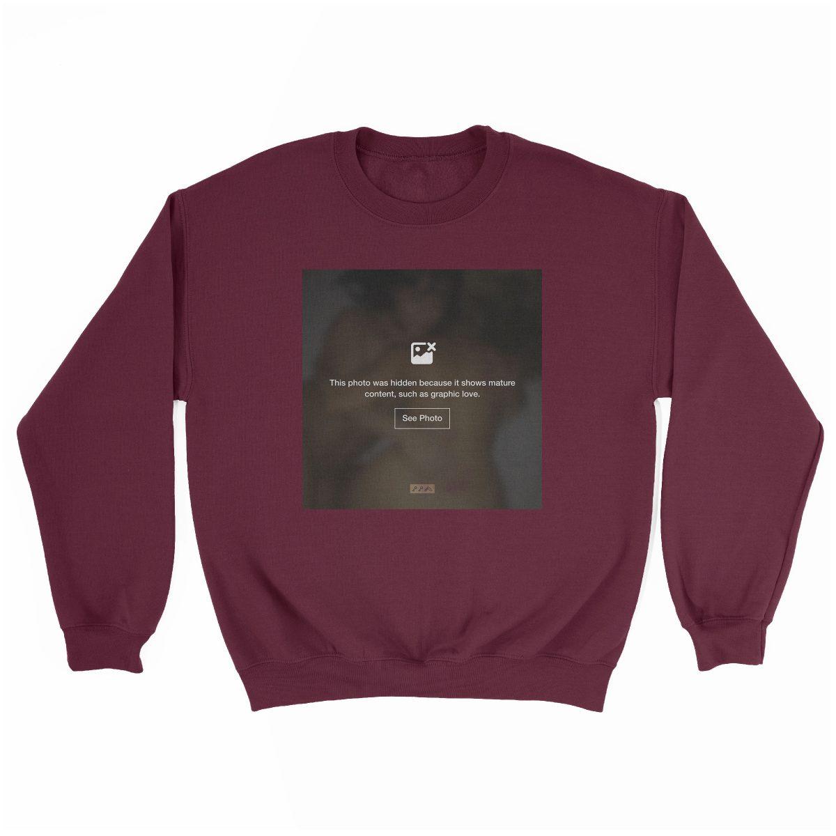 """""""GRAPHIC LOVE"""" hidden sex graphic sweatshirt in maroon by kikicutt"""