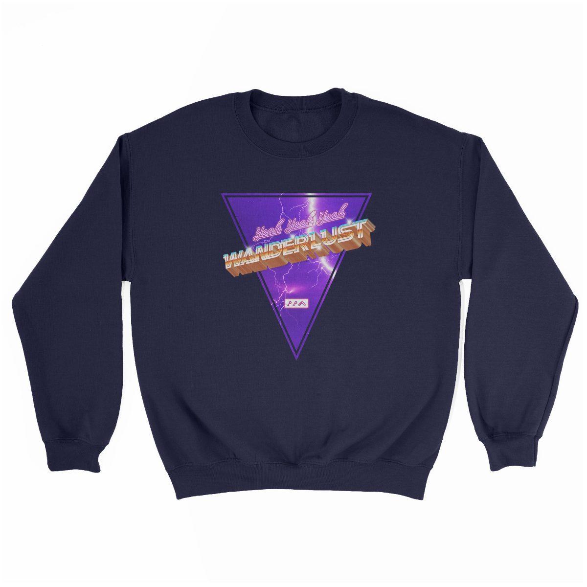 """(yeah yeah yeah) """"WANDERLUST"""" music festival artist sweatshirt in navy"""