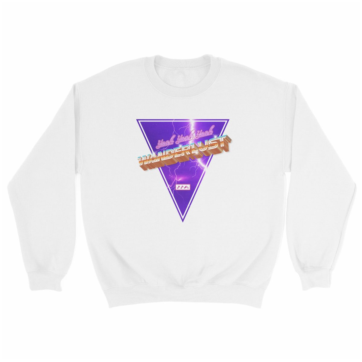 "(yeah yeah yeah) ""WANDERLUST"" music festival artist sweatshirt in white"