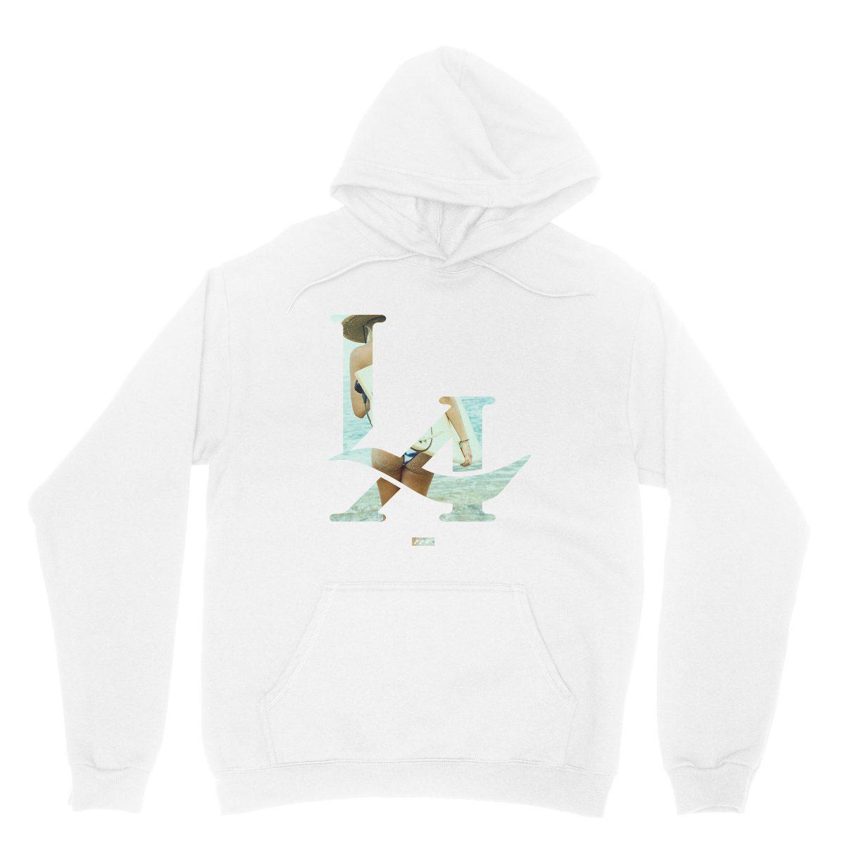 """LA surfs up"" los angeles bikini ass beach hoodie in white by kikicutt"