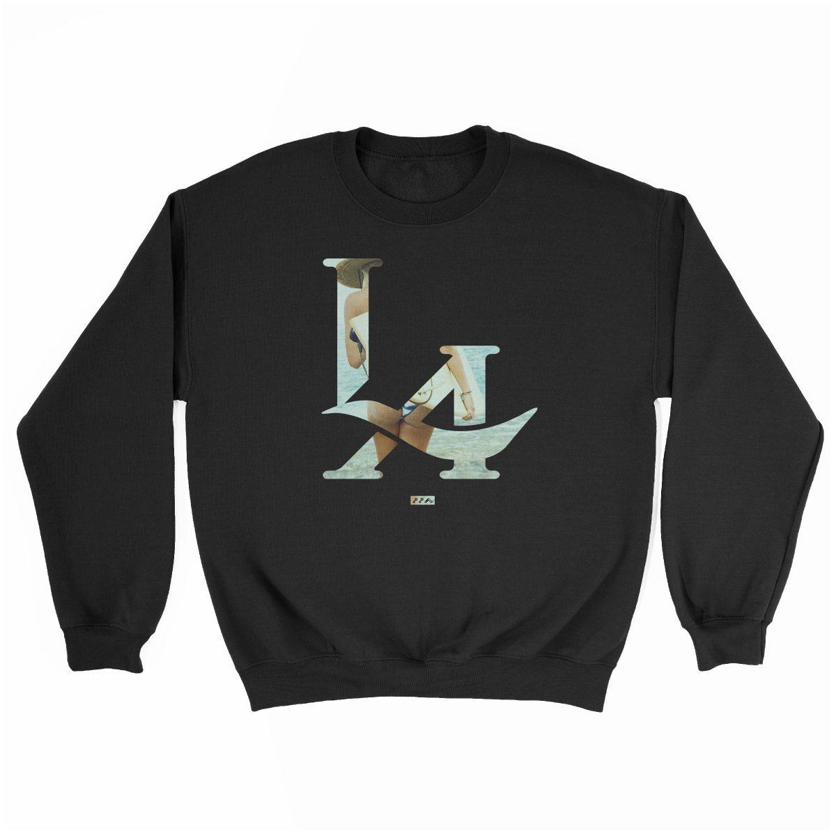 LA logo los angeles surfs up bikini ass beach sweatshirt in black at kikicutt.com