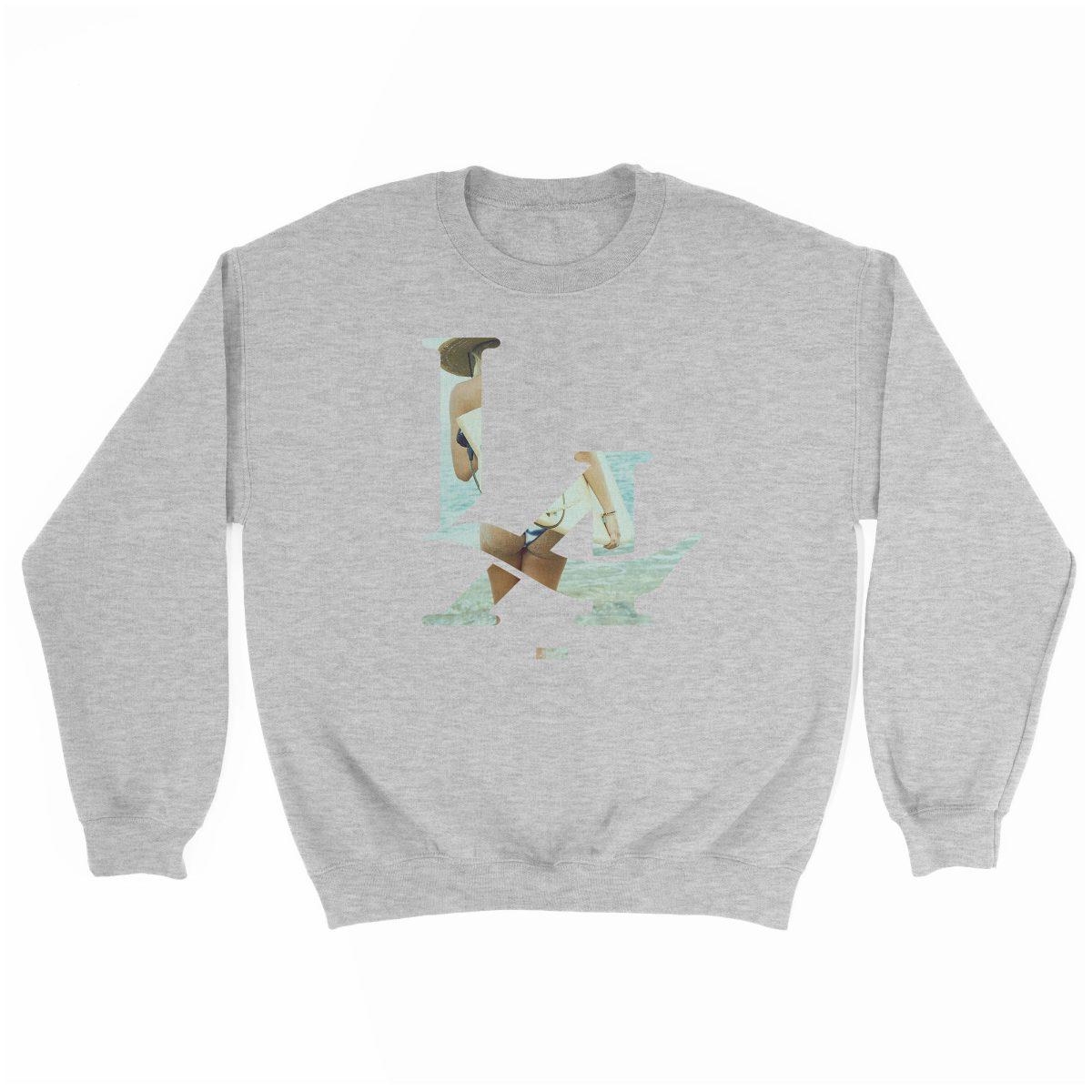 LA logo los angeles surfs up bikini ass beach sweatshirt in sport grey at kikicutt.com