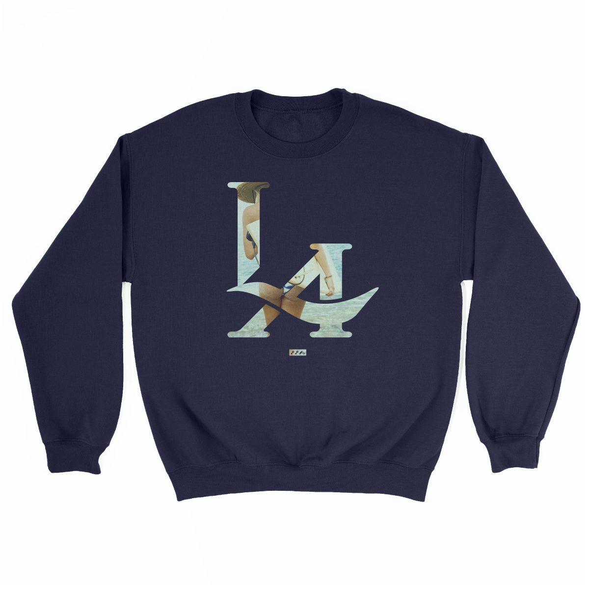LA logo los angeles surfs up bikini ass beach sweatshirt in navy at kikicutt.com