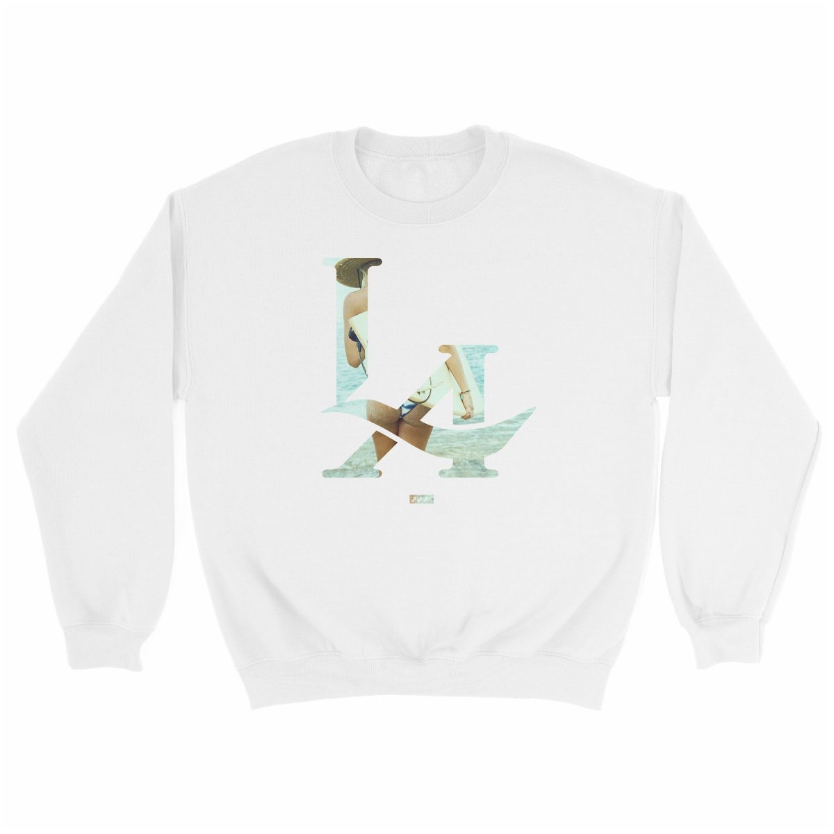 LA logo los angeles surfs up bikini ass beach sweatshirt in white at kikicutt.com