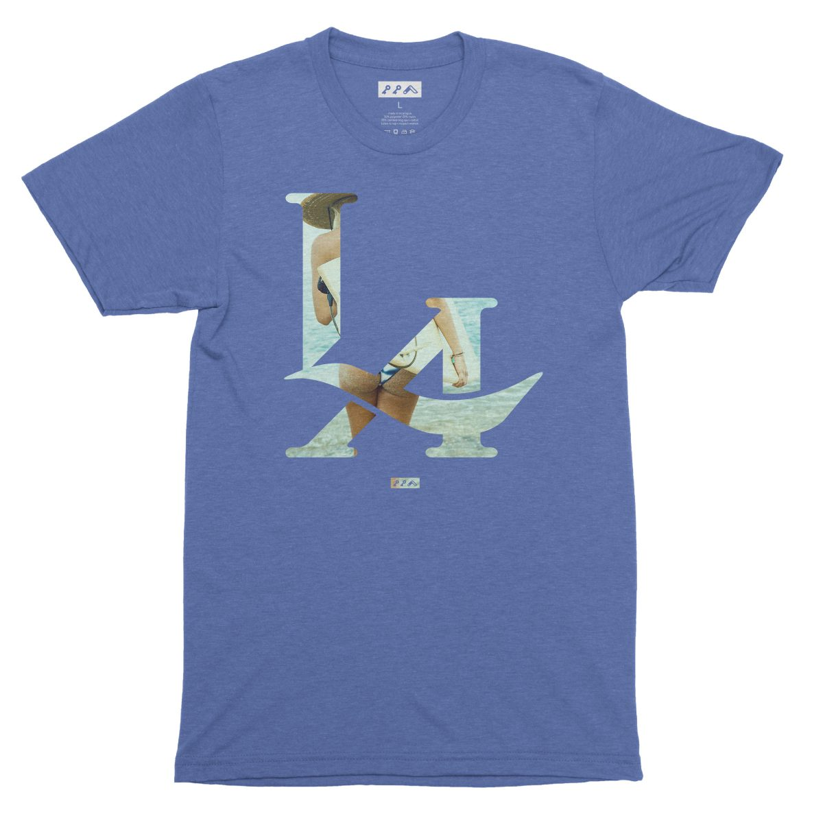 LA logo los angeles surfs up bikini beach butt t-shirt in blue by kikicutt