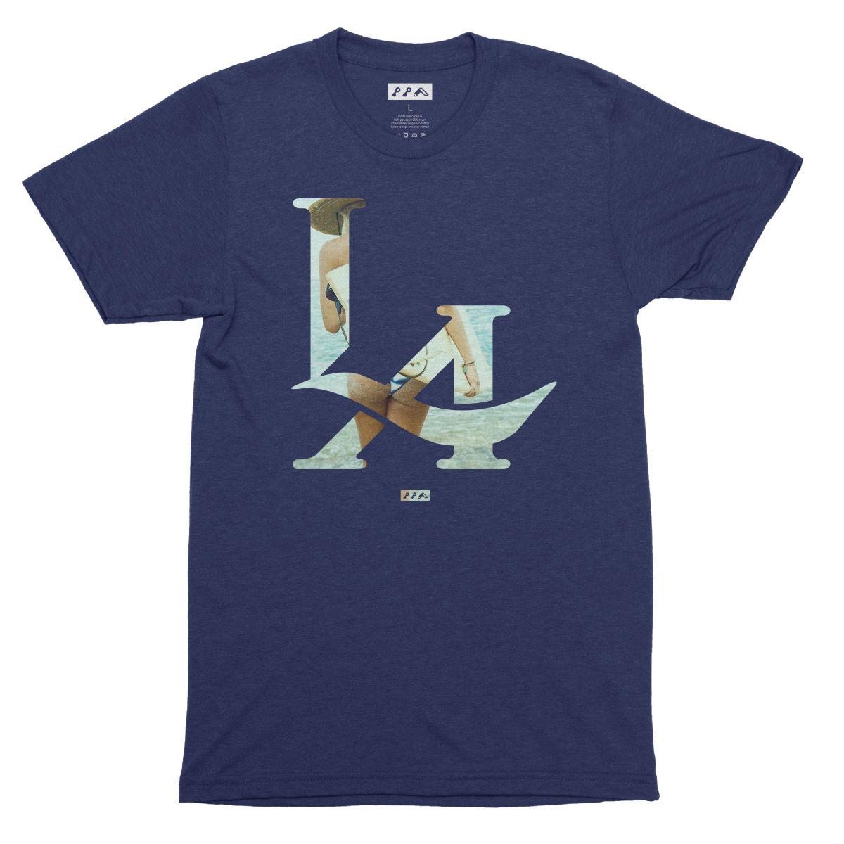 LA logo los angeles surfs up bikini beach butt t-shirt in navy by kikicutt