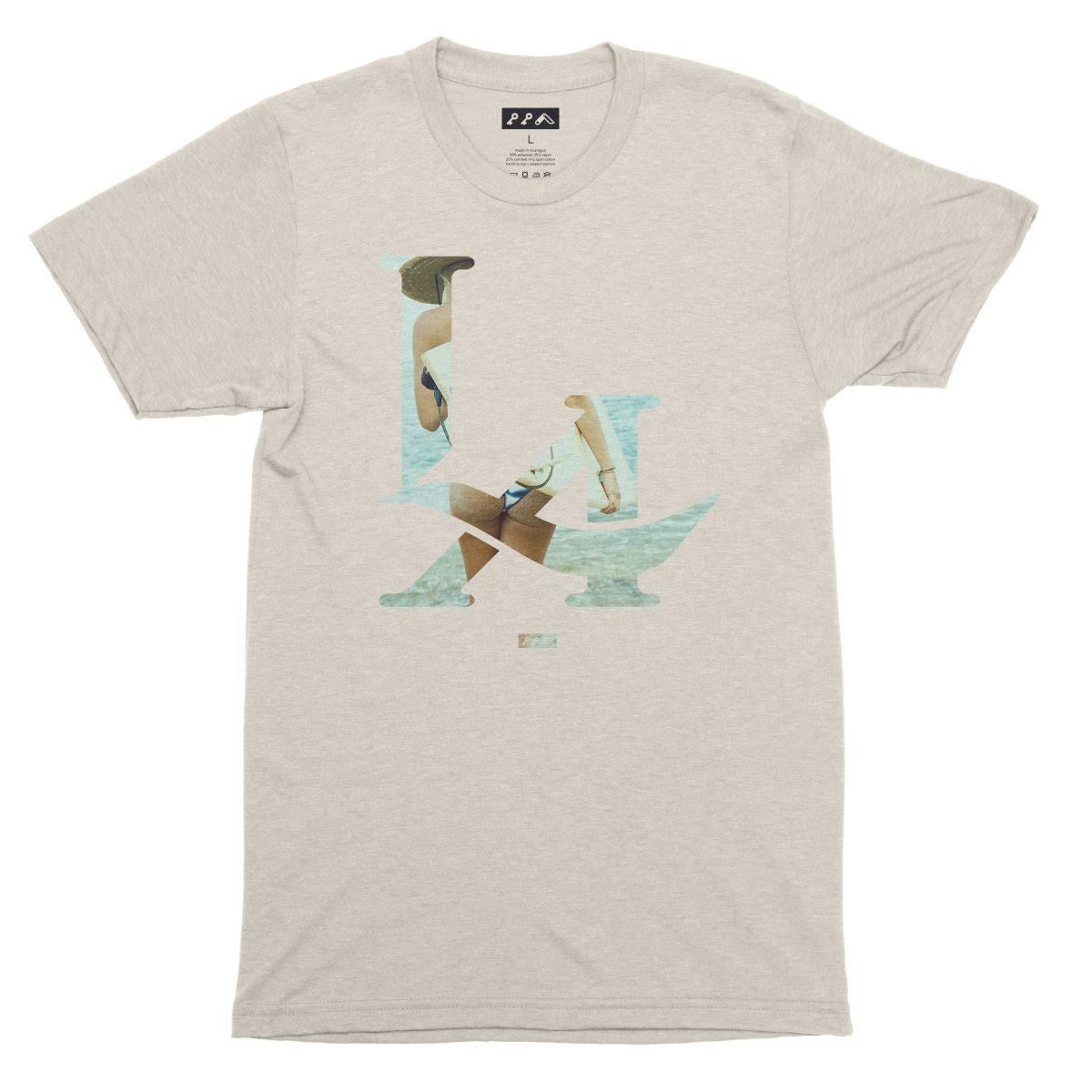 LA logo los angeles surfs up bikini beach butt t-shirt in oatmeal by kikicutt