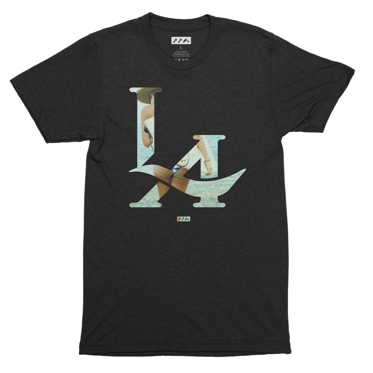 LA logo los angeles surfs up bikini beach butt t-shirt in solid black by kikicutt