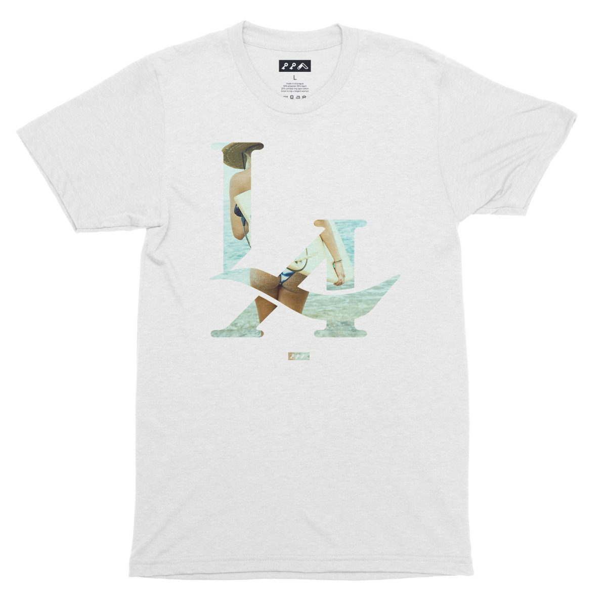 LA logo los angeles surfs up bikini beach butt t-shirt in white fleck by kikicutt