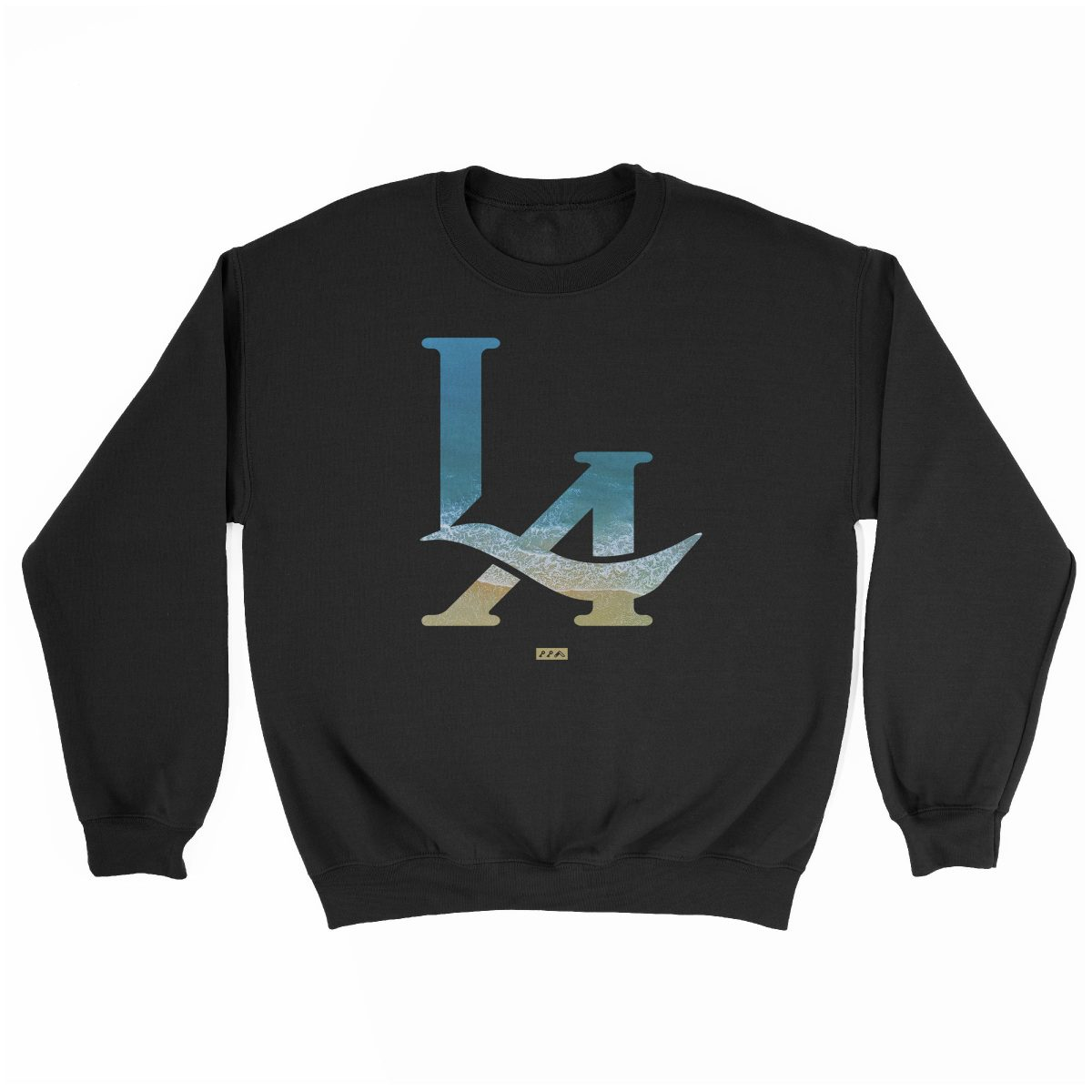 LA logo los angeles hermosa beach sweatshirt in black at kikicutt.com