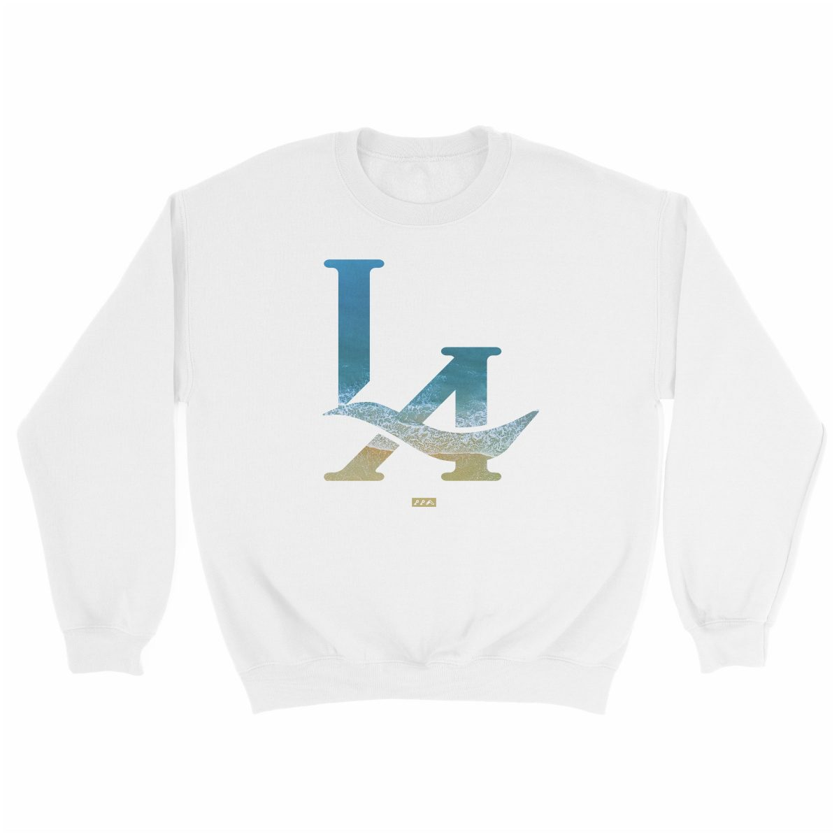 LA logo los angeles hermosa beach sweatshirt in white at kikicutt.com