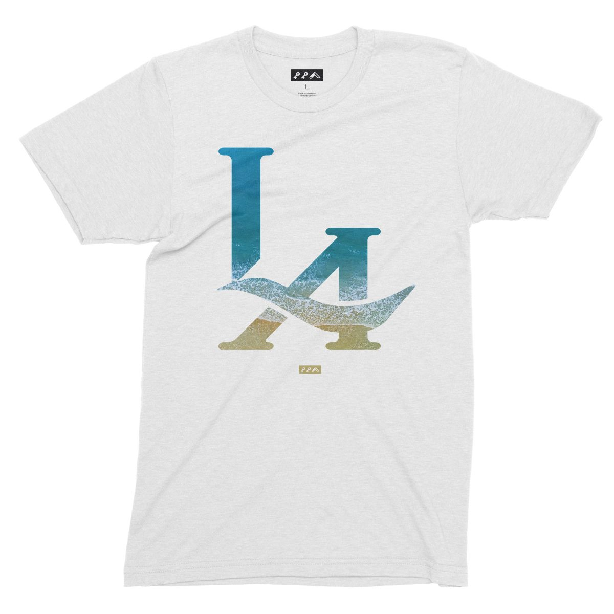 LA logo los angeles ocean venice beach t-shirt in white by kikicutt