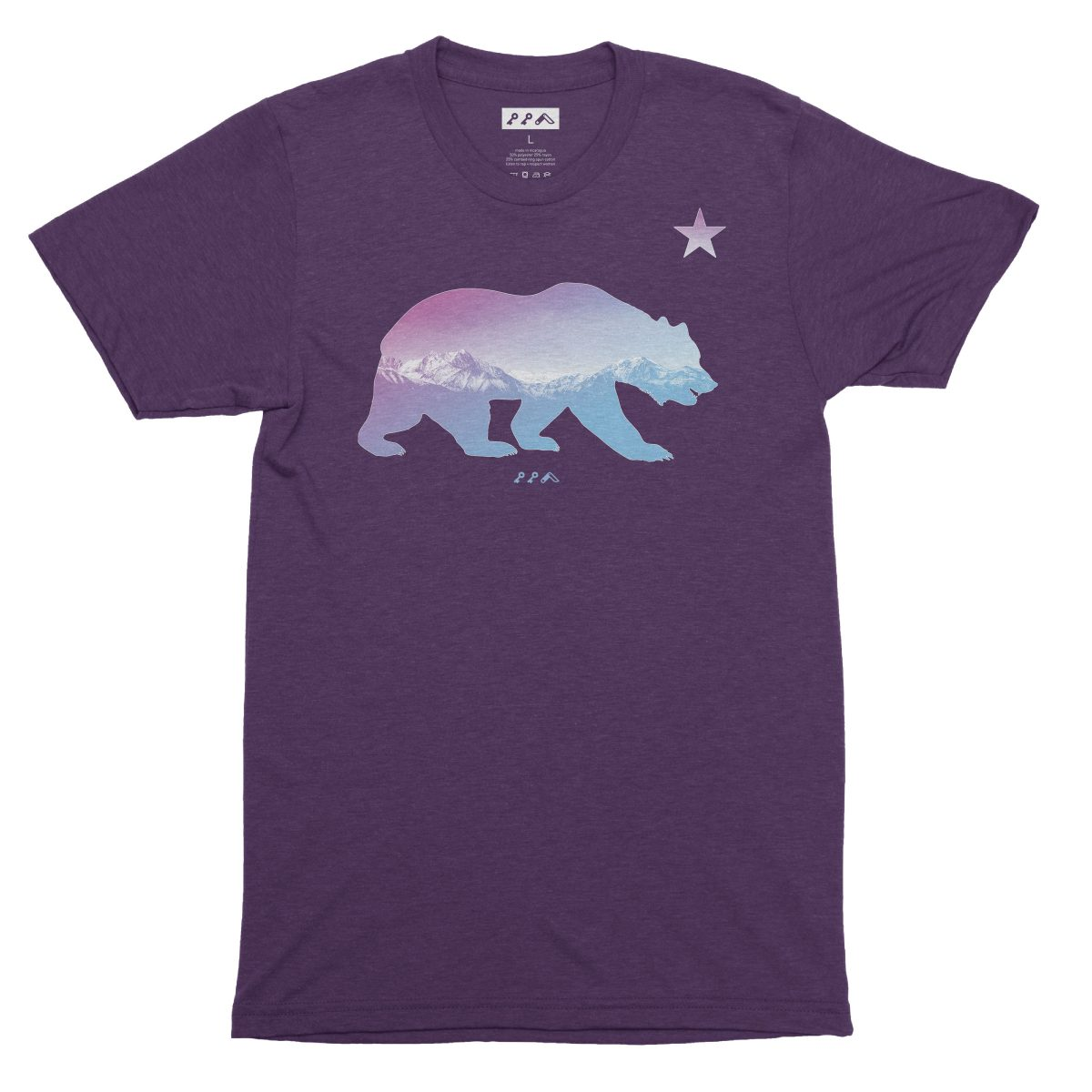 """BARE MOUNTAINS"" california bear t-shirt in purple by kikicutt"