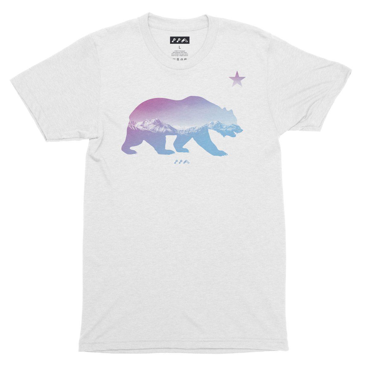 """BARE MOUNTAINS"" california bear t-shirt in white by kikicutt"