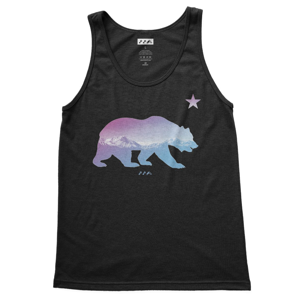 """BARE MOUNTAINS"" california bear tank tops in black by kikicutt"