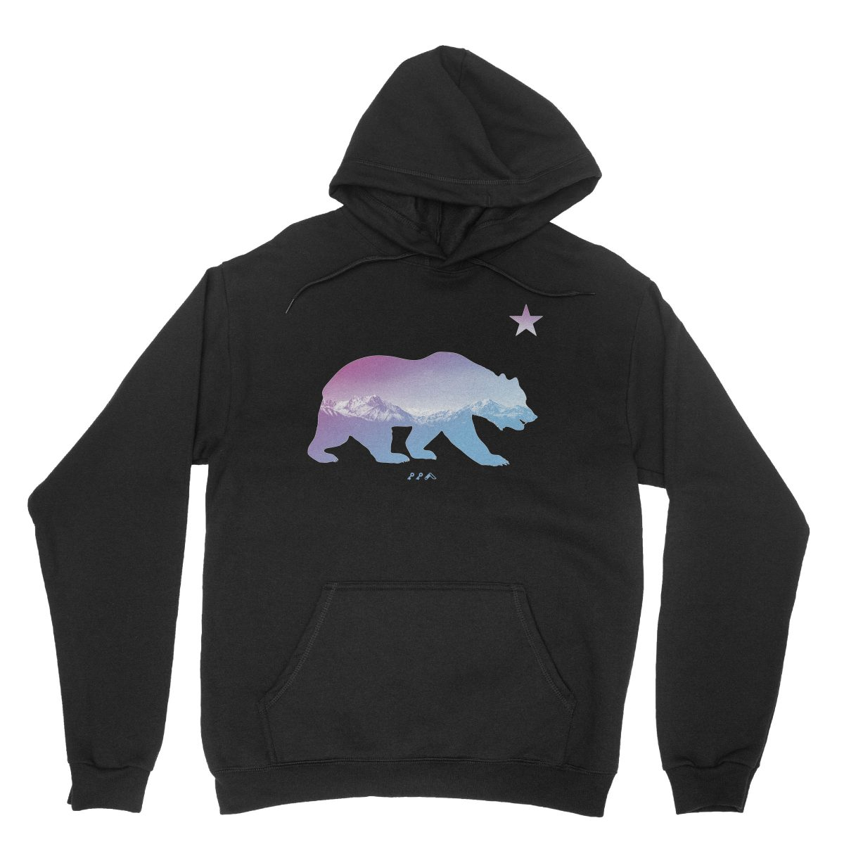 """BARE MOUNTAINS"" california bear hoodies in black by kikicutt"