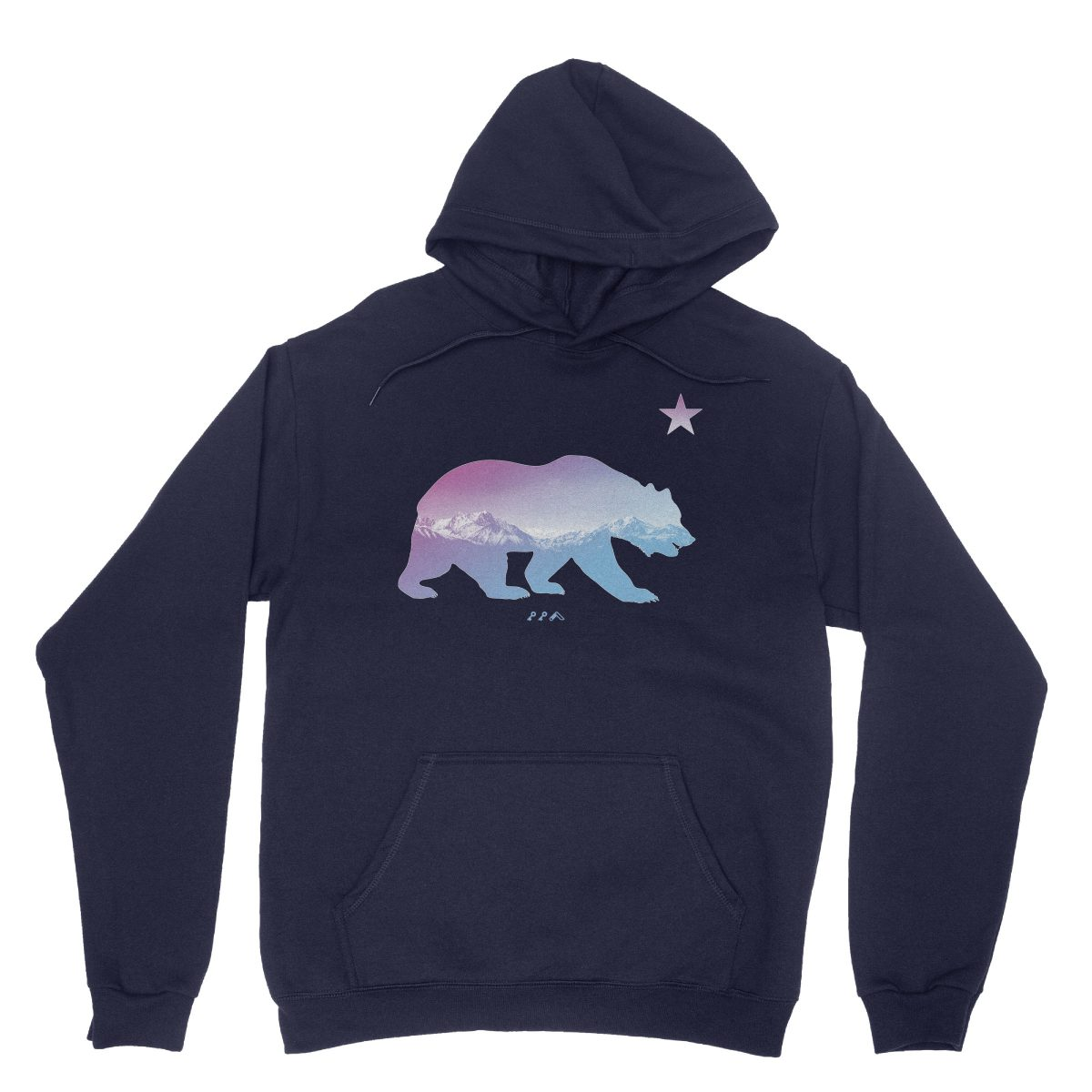 """BARE MOUNTAINS"" california bear hoodies in navy by kikicutt"