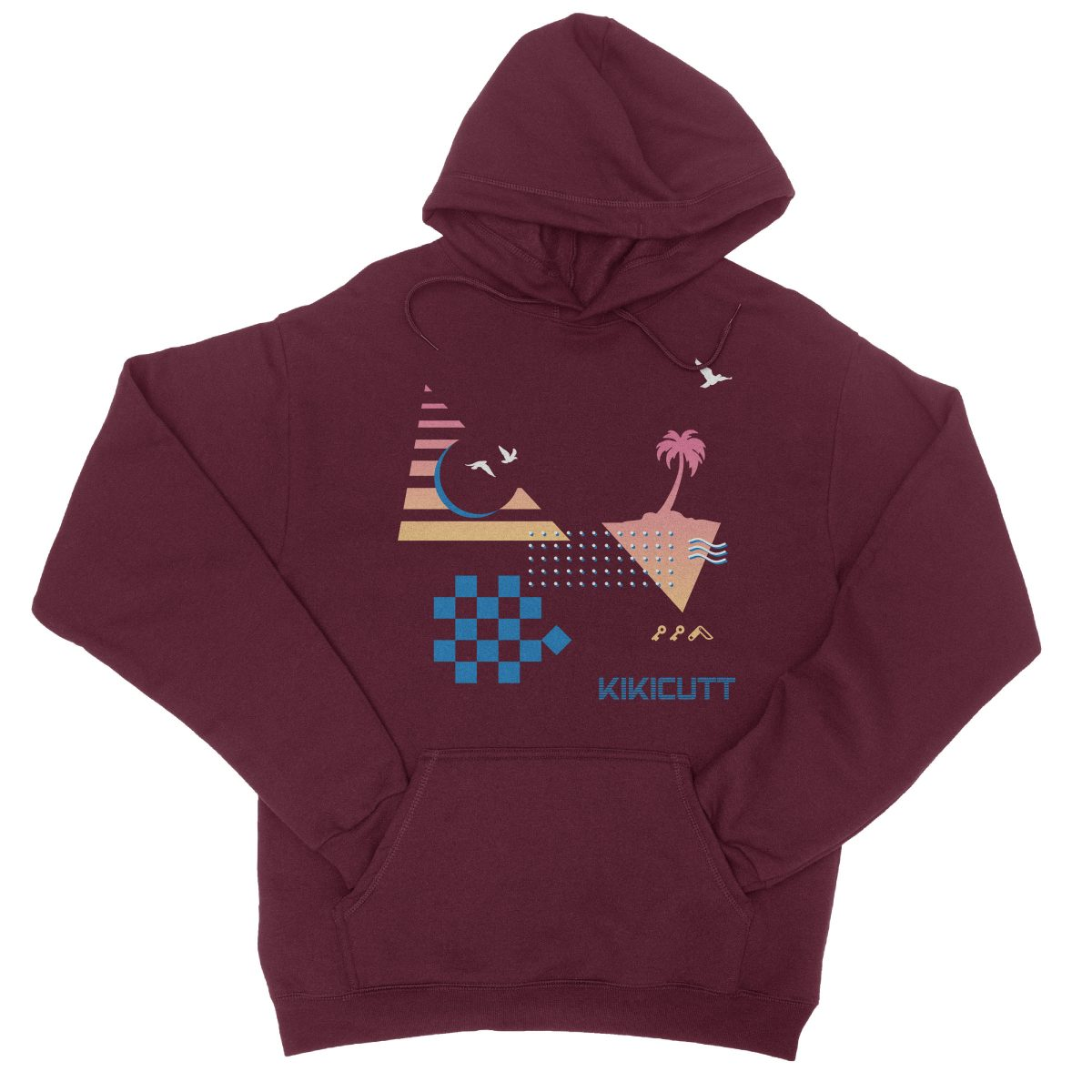 CHECKERED PAST retro throwback 80s style design graphic hoodie in maroon