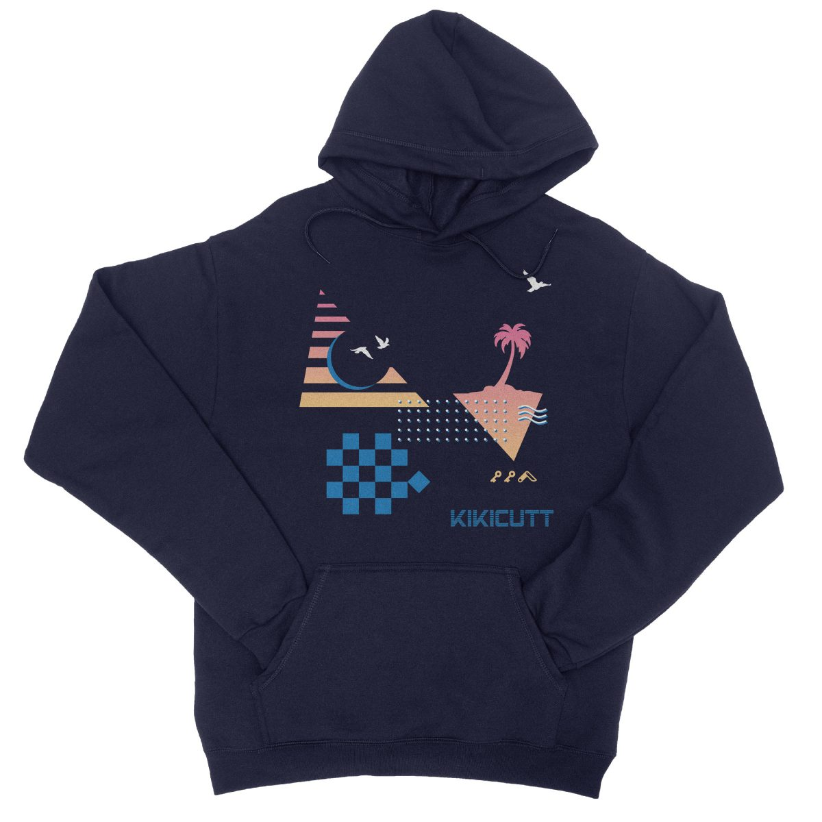 CHECKERED PAST retro throwback 80s style design graphic hoodie in navy