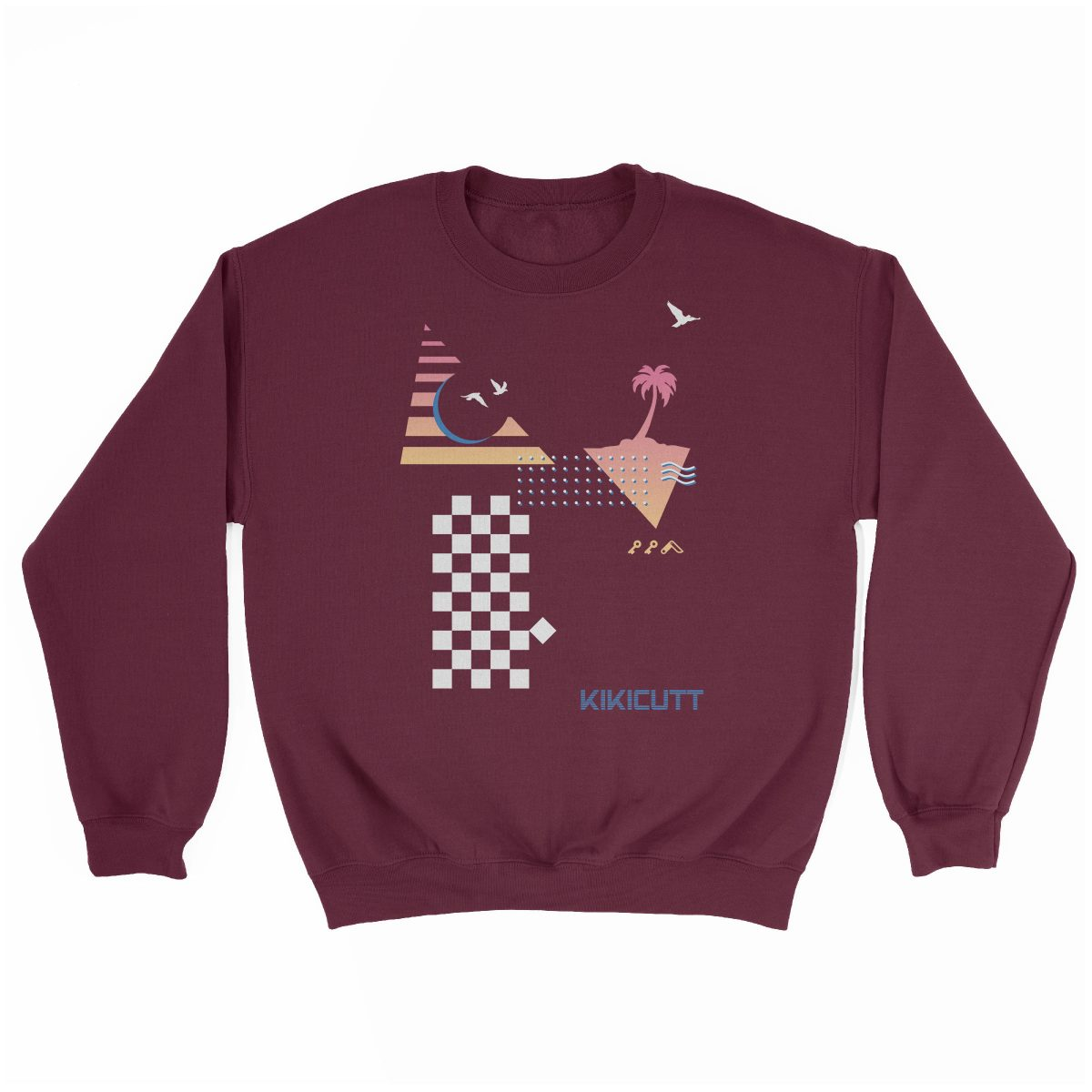 CHECKERED PAST retro throwback 80s style design graphic sweatshirt in maroon