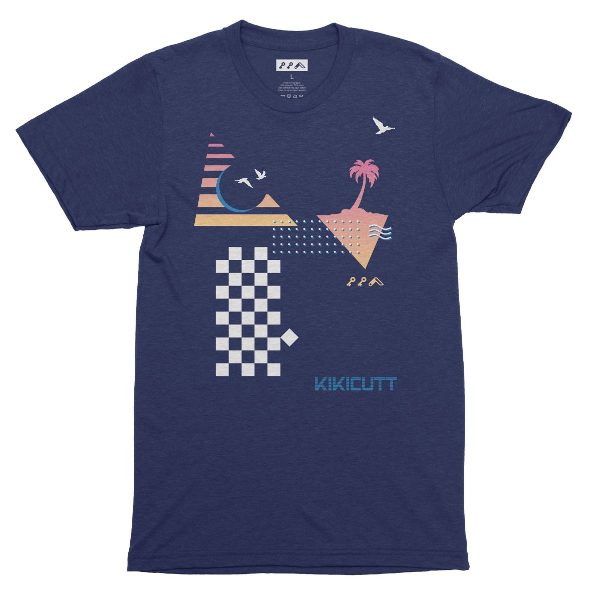 CHECKERED PAST retro throwback 80s style design graphic tee in navy