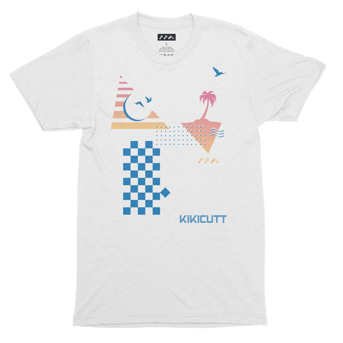 CHECKERED PAST retro throwback 80s style design graphic tee in white fleck