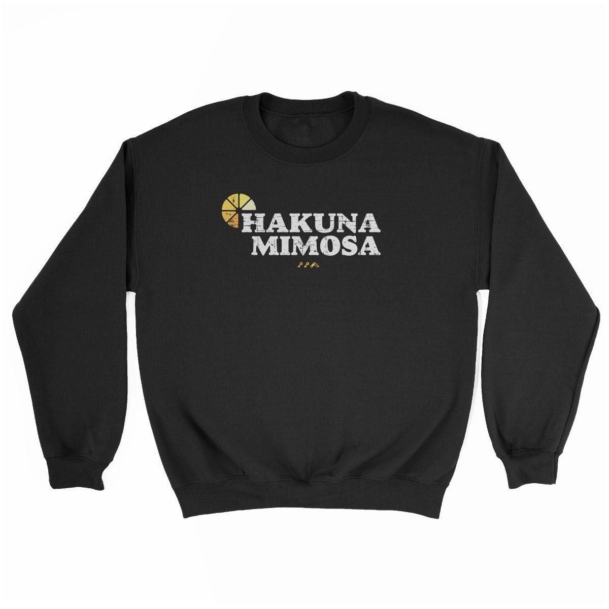 HAKUNA MIMOSA funny sunday funday brunch sweatshirt in black at kikicutt.com