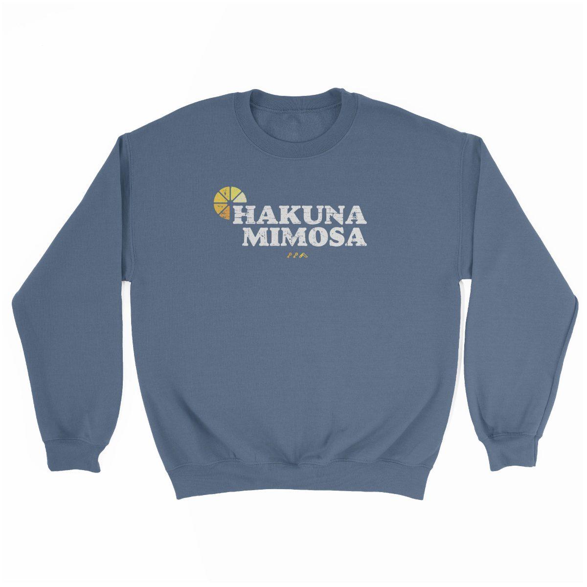 HAKUNA MIMOSA funny sunday funday brunch sweatshirt in indigo at kikicutt.com