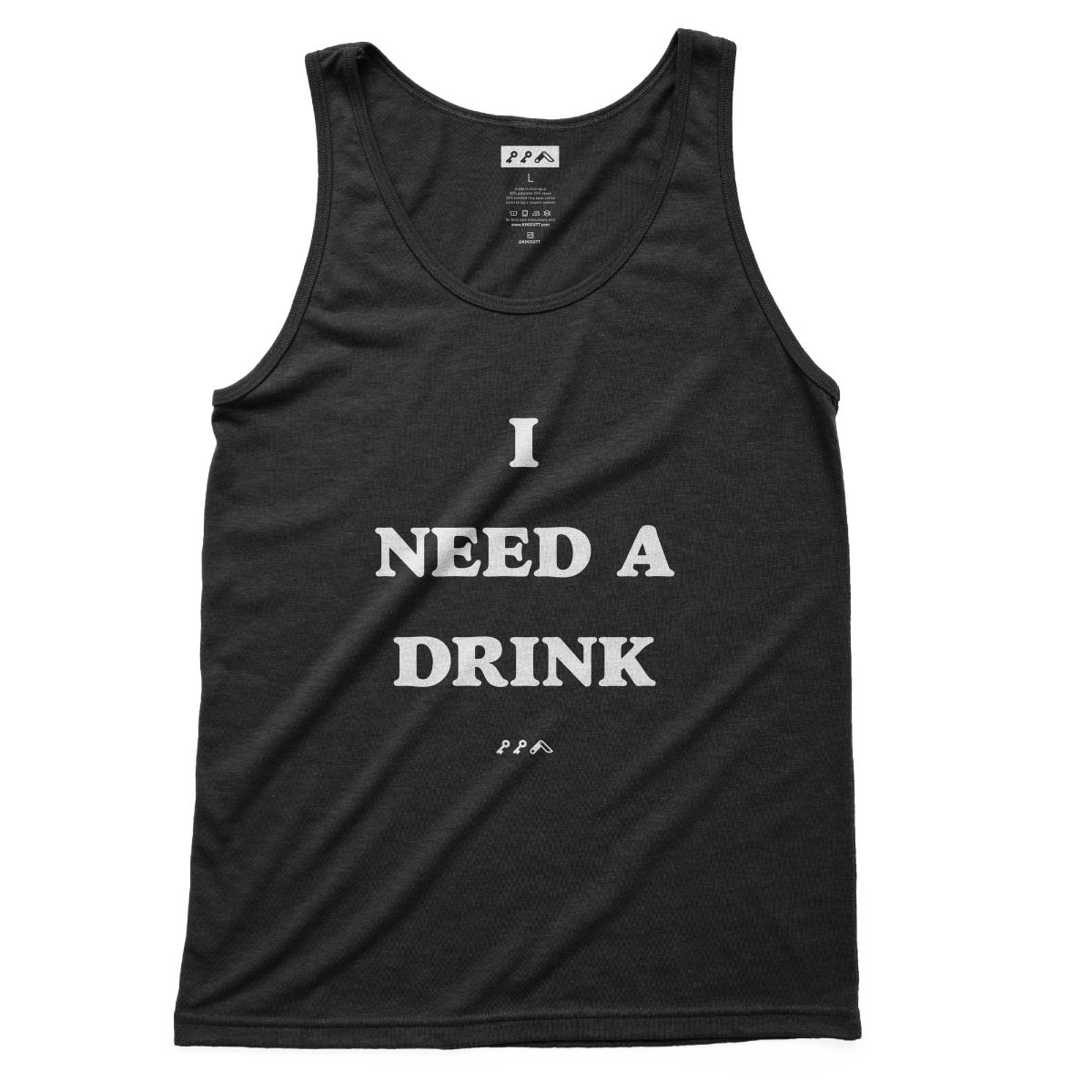 I NEED A DRINK funny sunday funday drinking tank top in black