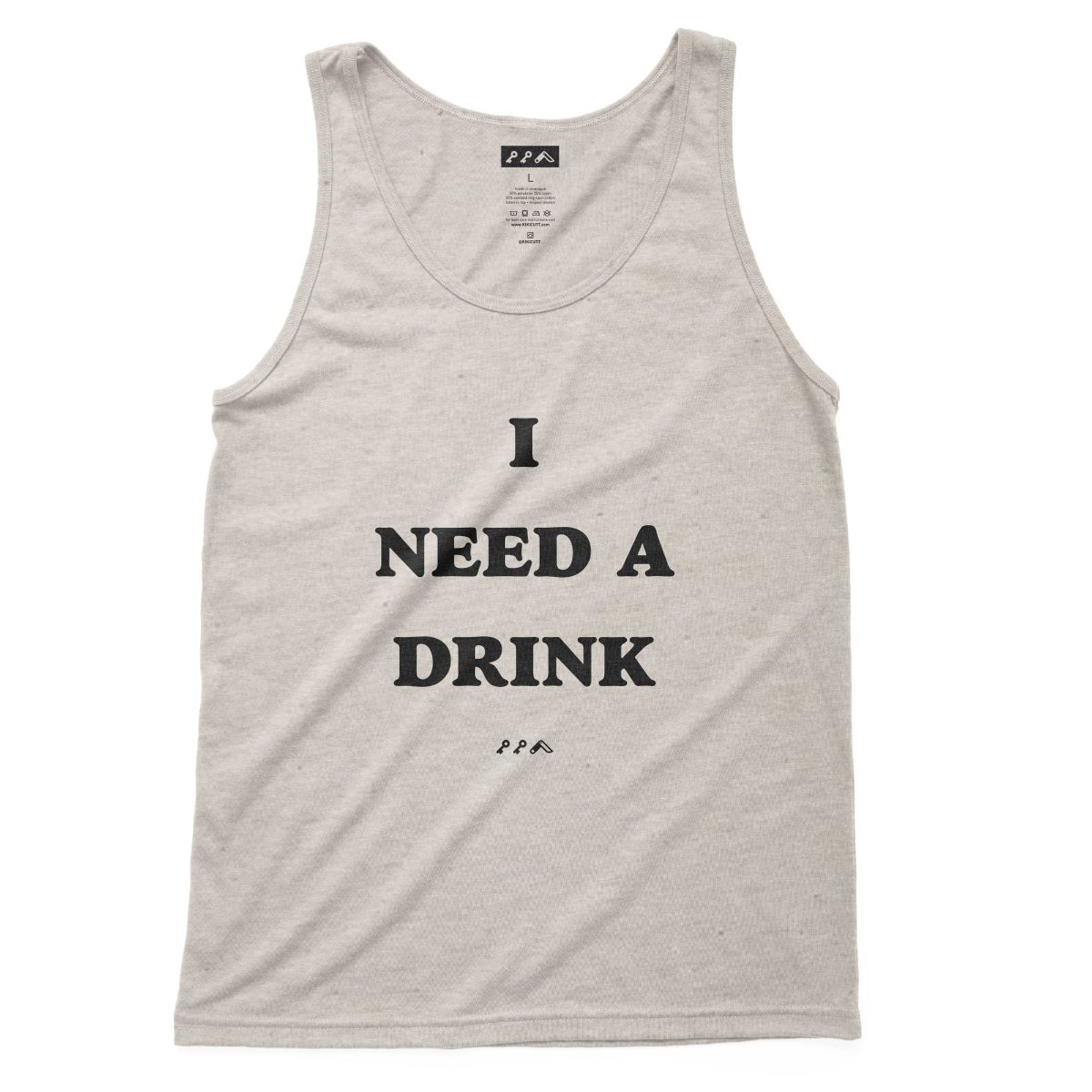 I NEED A DRINK funny sunday funday drinking tank top in oatmeal