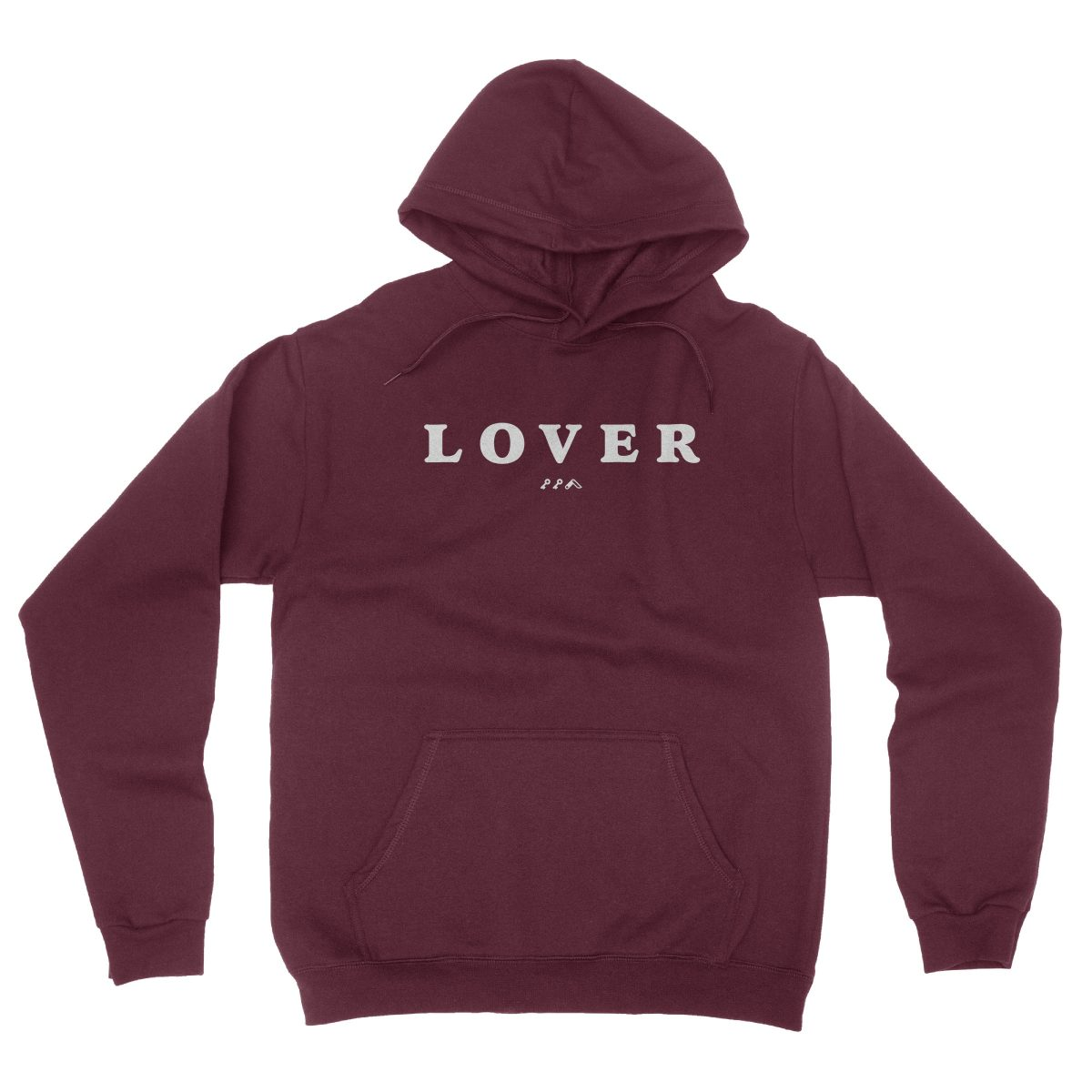 LOVER soft unisex hoodie in maroon by kikicutt