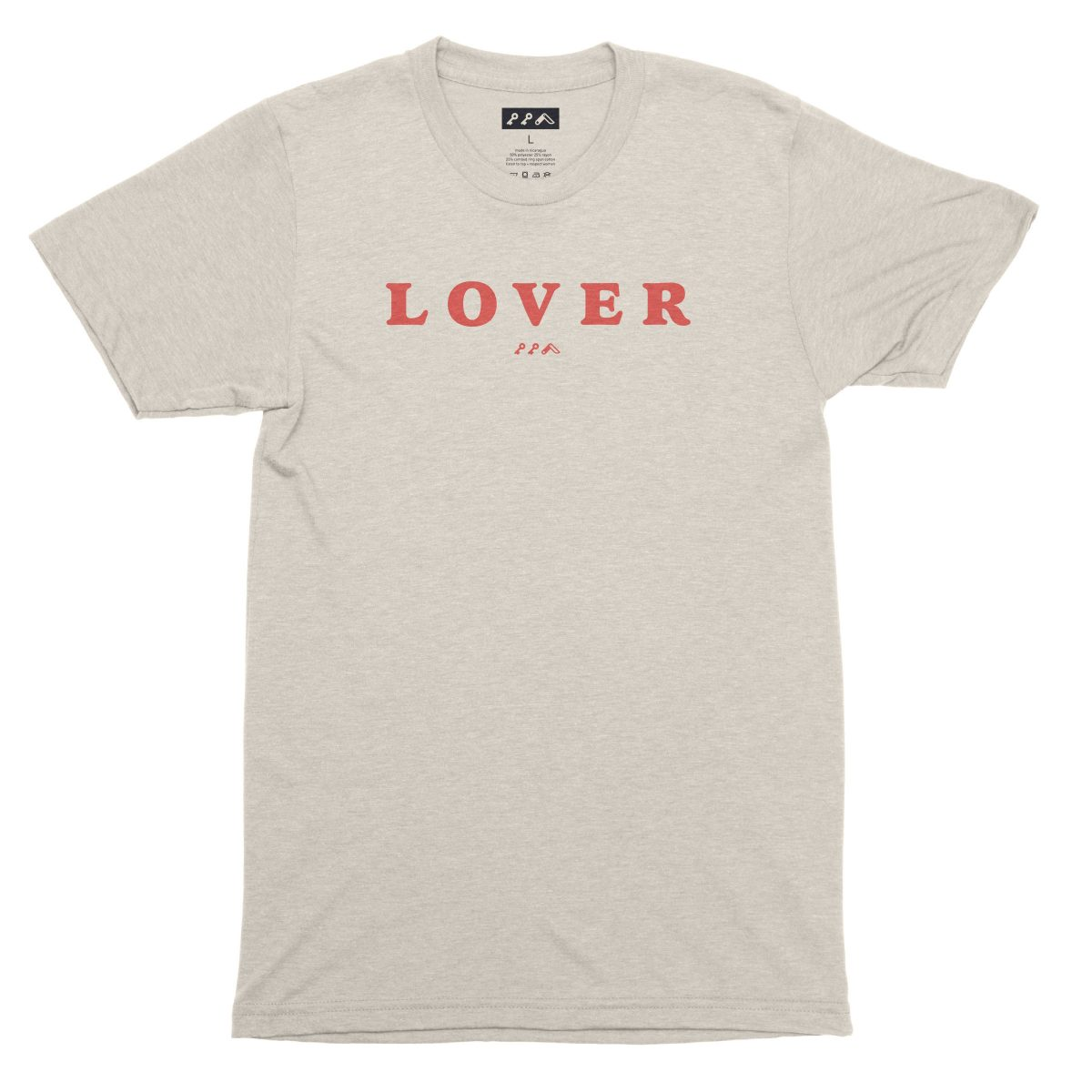LOVER super soft unisex tri-blend t-shirt in oatmeal